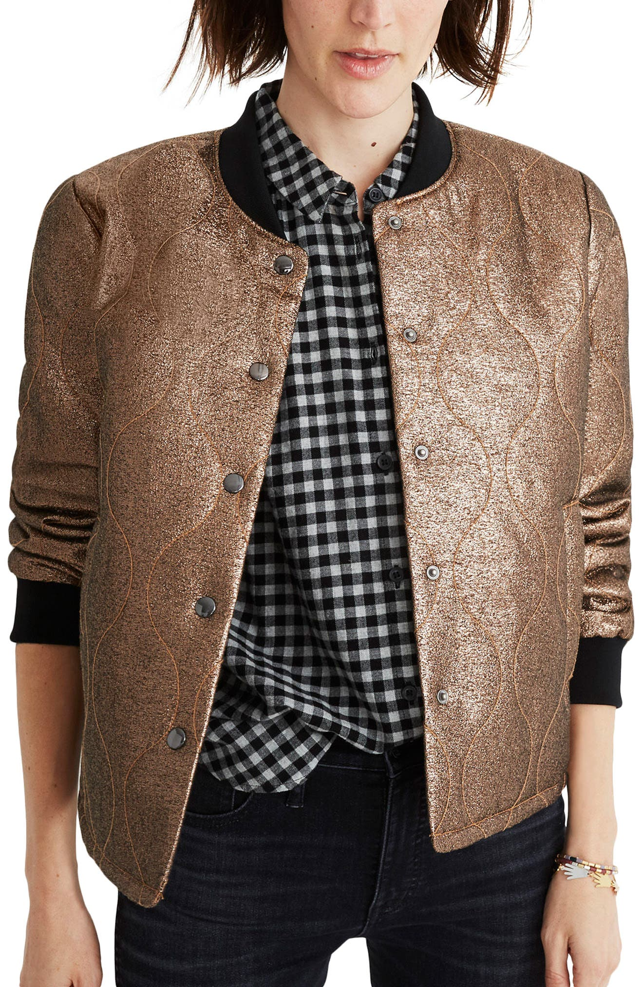 Main Image - Madewell Metallic Quilted Military Jacket