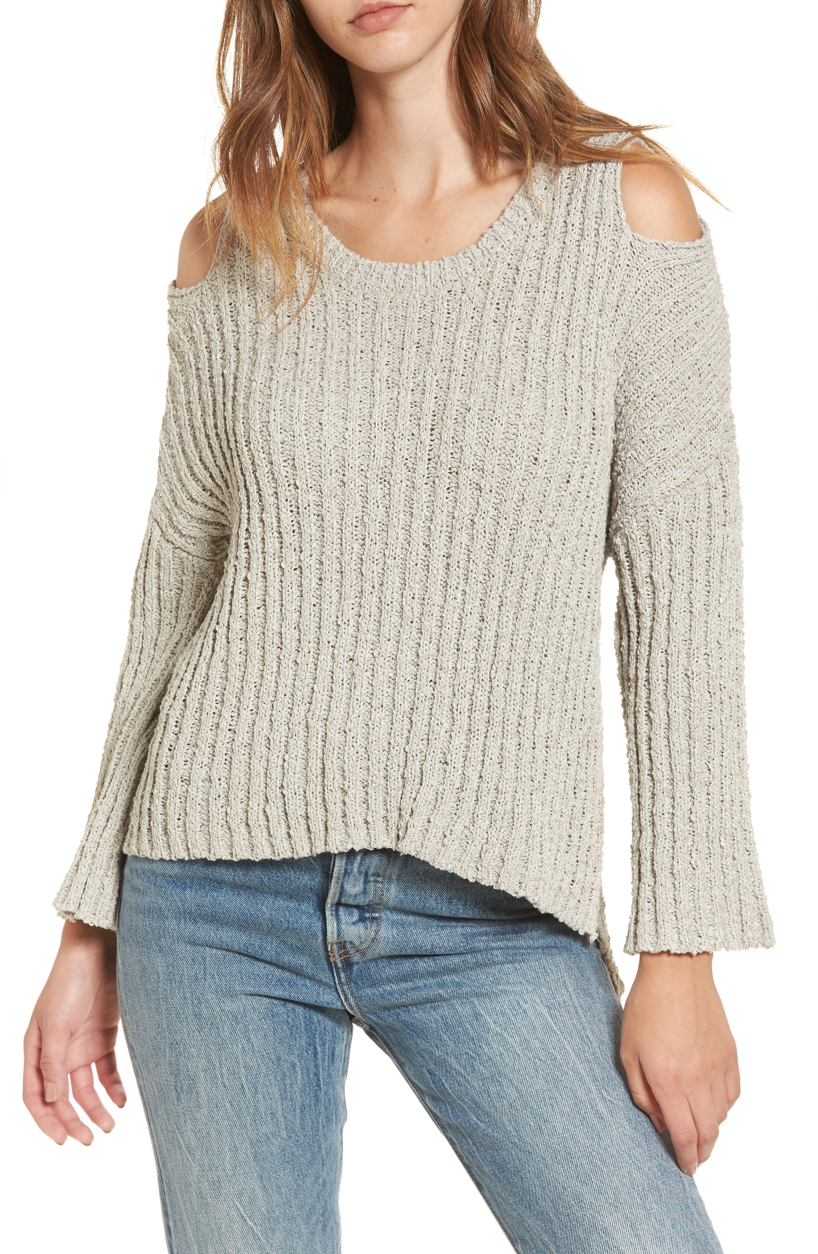 Fuzzy Knit Cold Shoulder Sweater,                             Main thumbnail 1, color,                             Grey