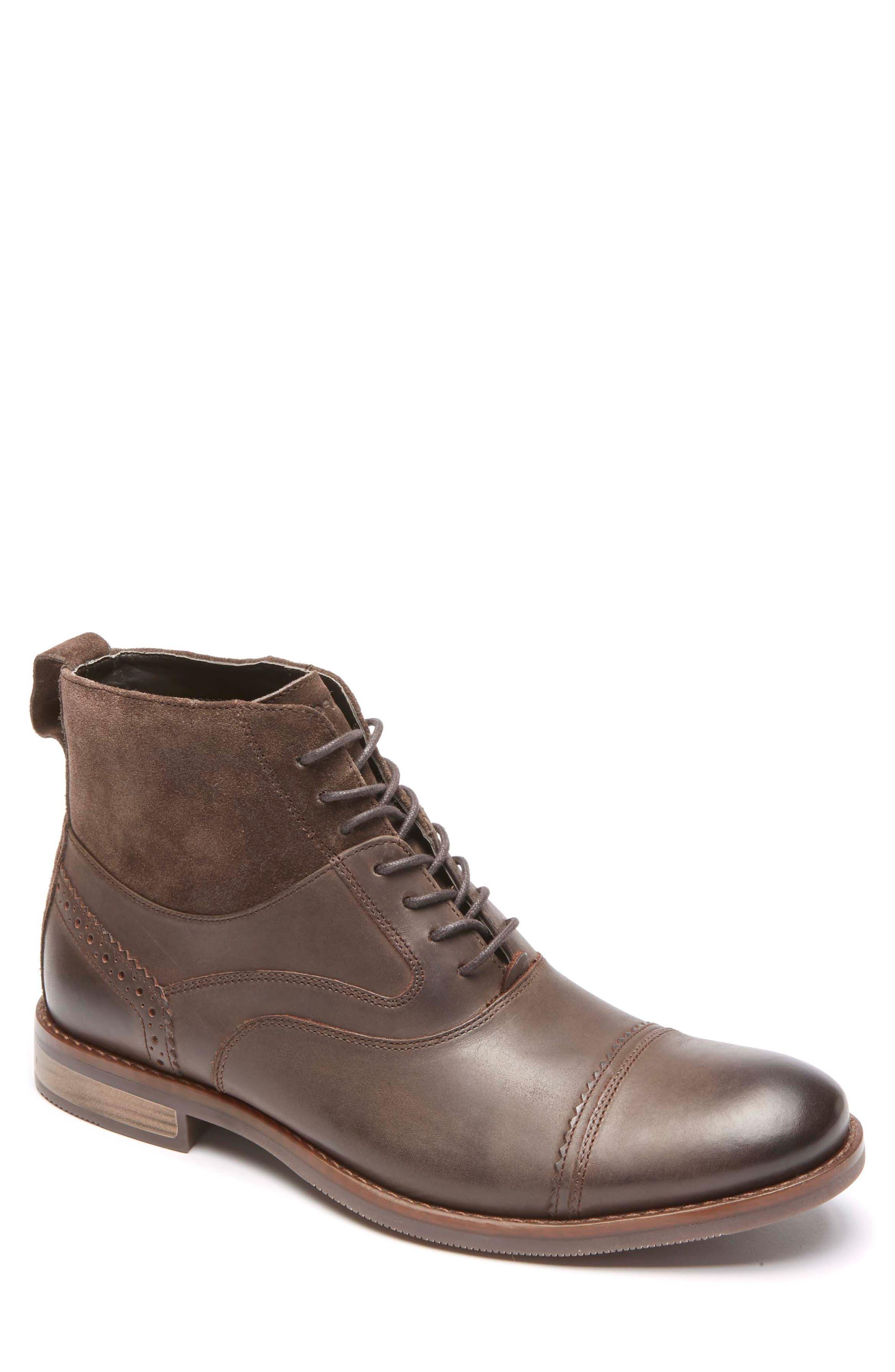 Wynstin Cap Toe Boot,                             Main thumbnail 1, color,                             Dark Chocolate Leather