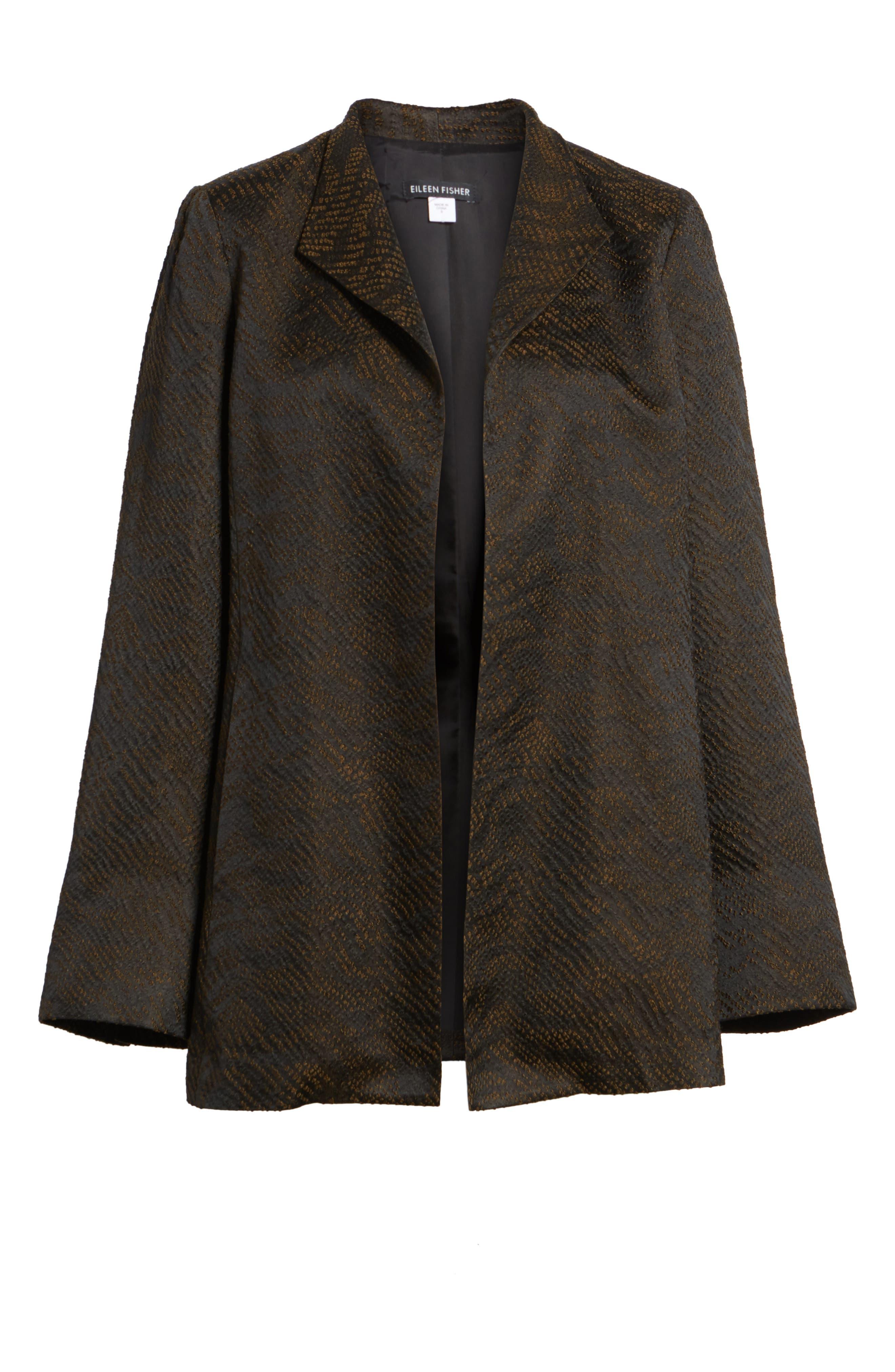 Silk Blend Jacquard Jacket,                             Alternate thumbnail 5, color,                             Black
