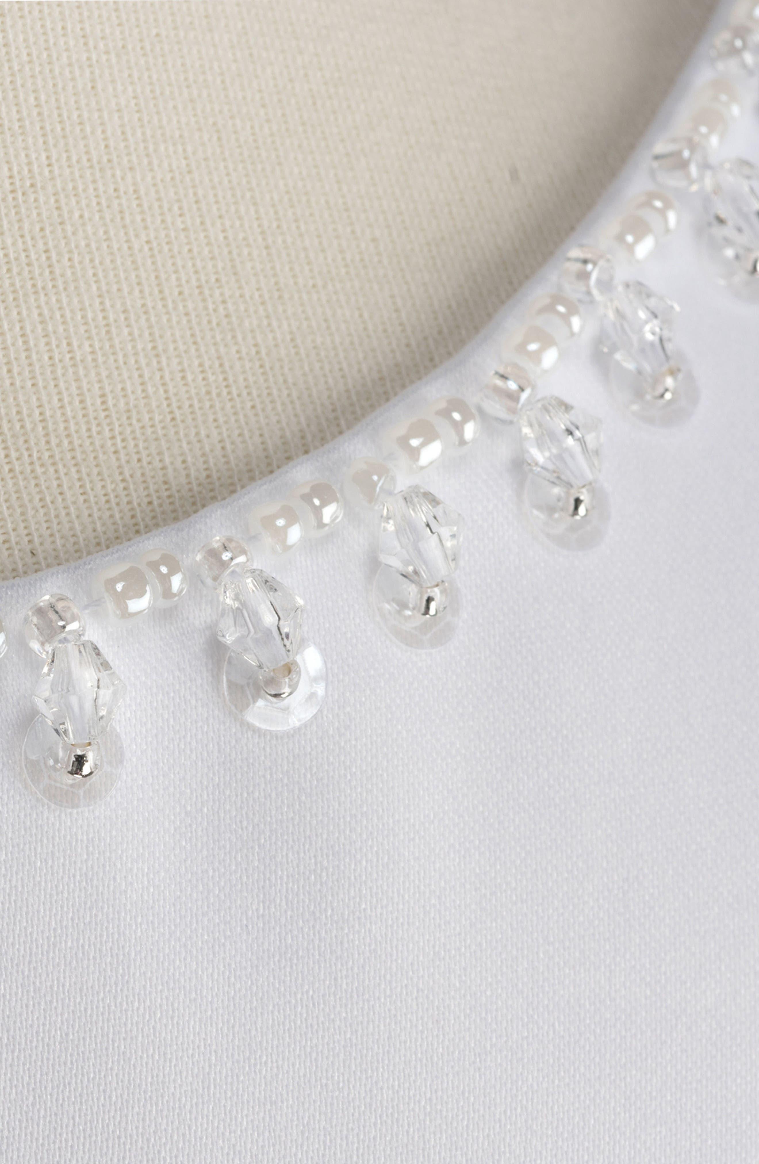 Beaded Cap Sleeve Dress,                             Alternate thumbnail 3, color,                             White