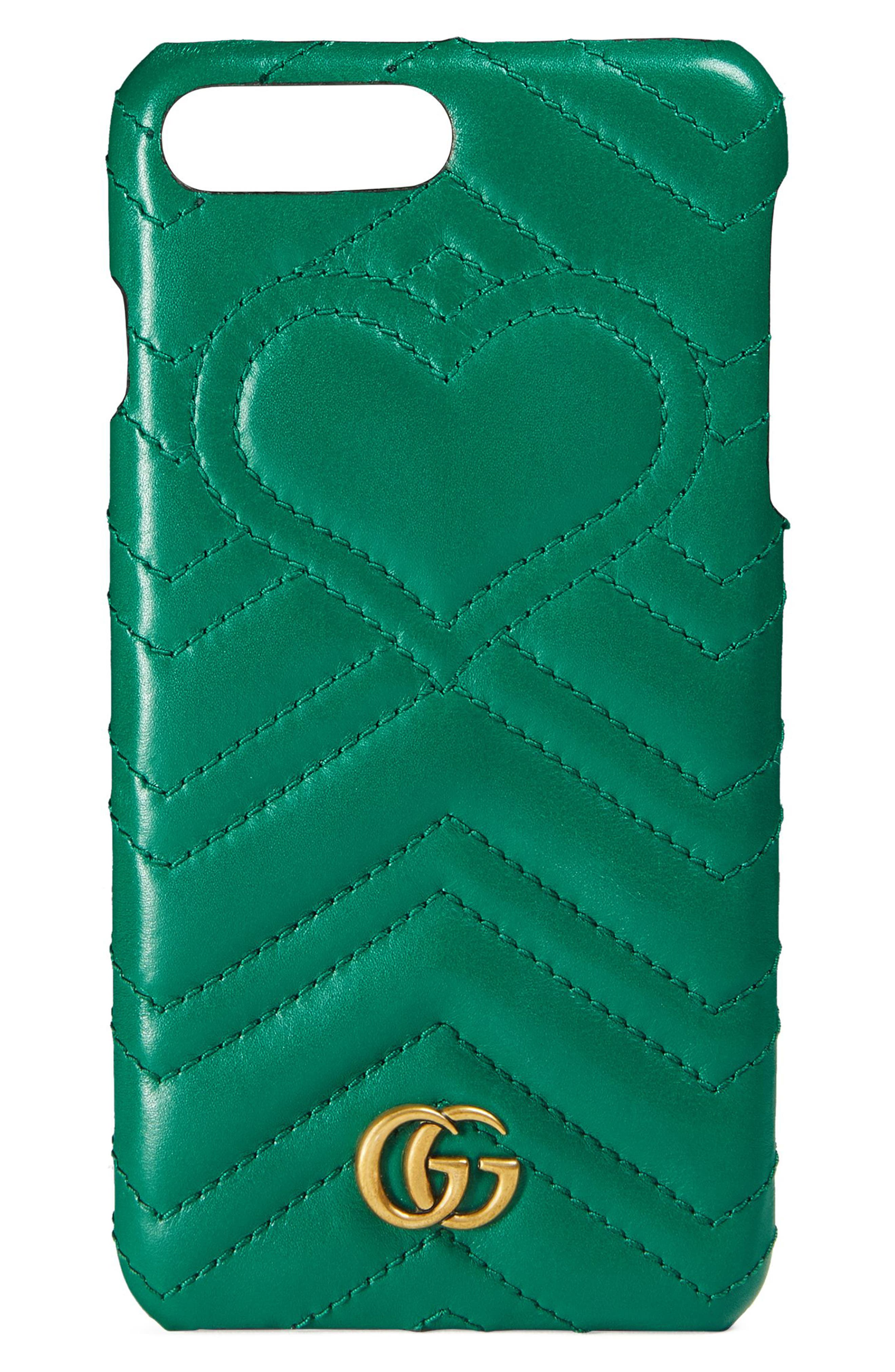 GG Marmont Leather iPhone 7 Case,                         Main,                         color, Emerald