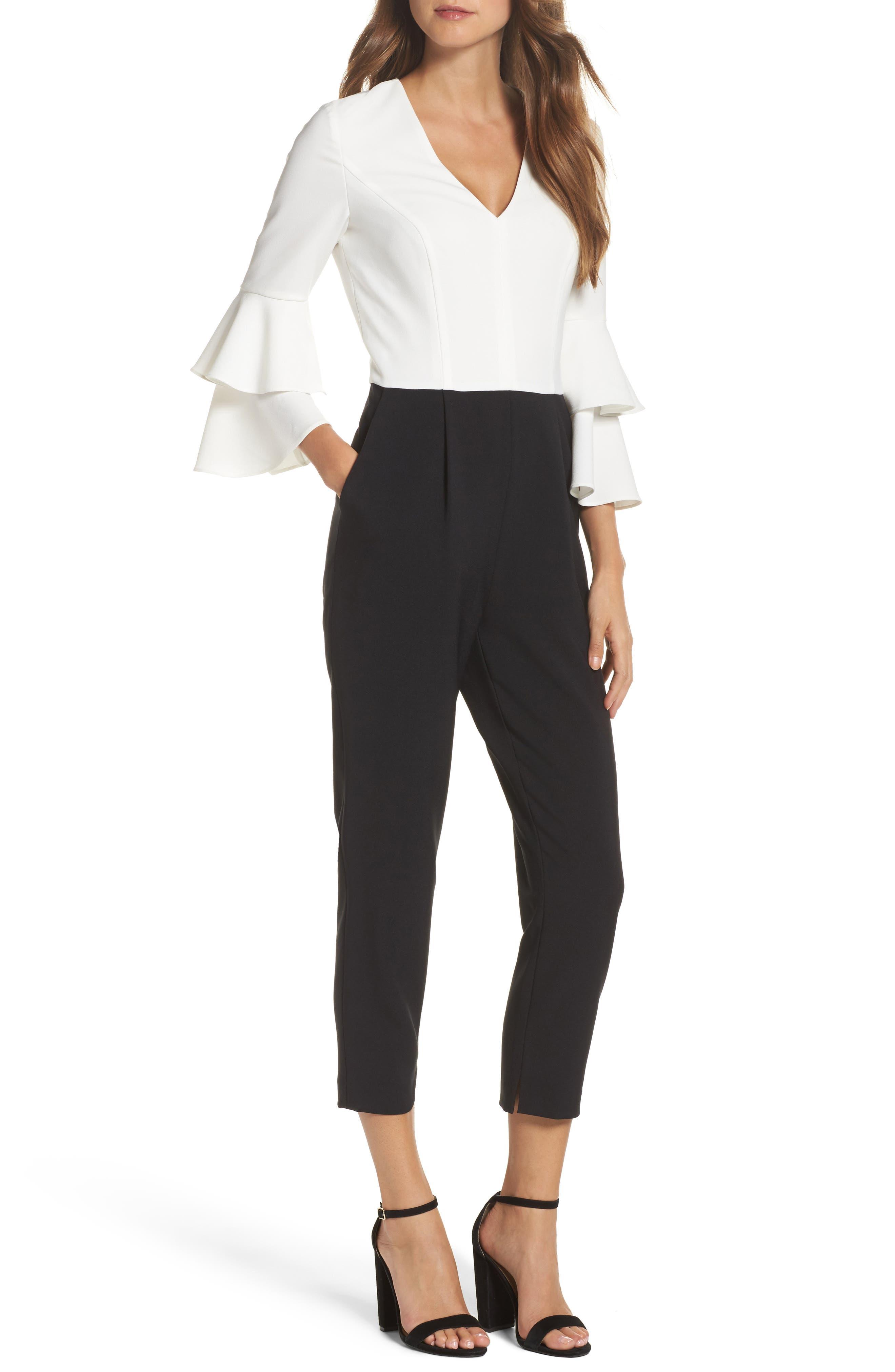 Colorblock Jumpsuit,                         Main,                         color, Ivory/ Black