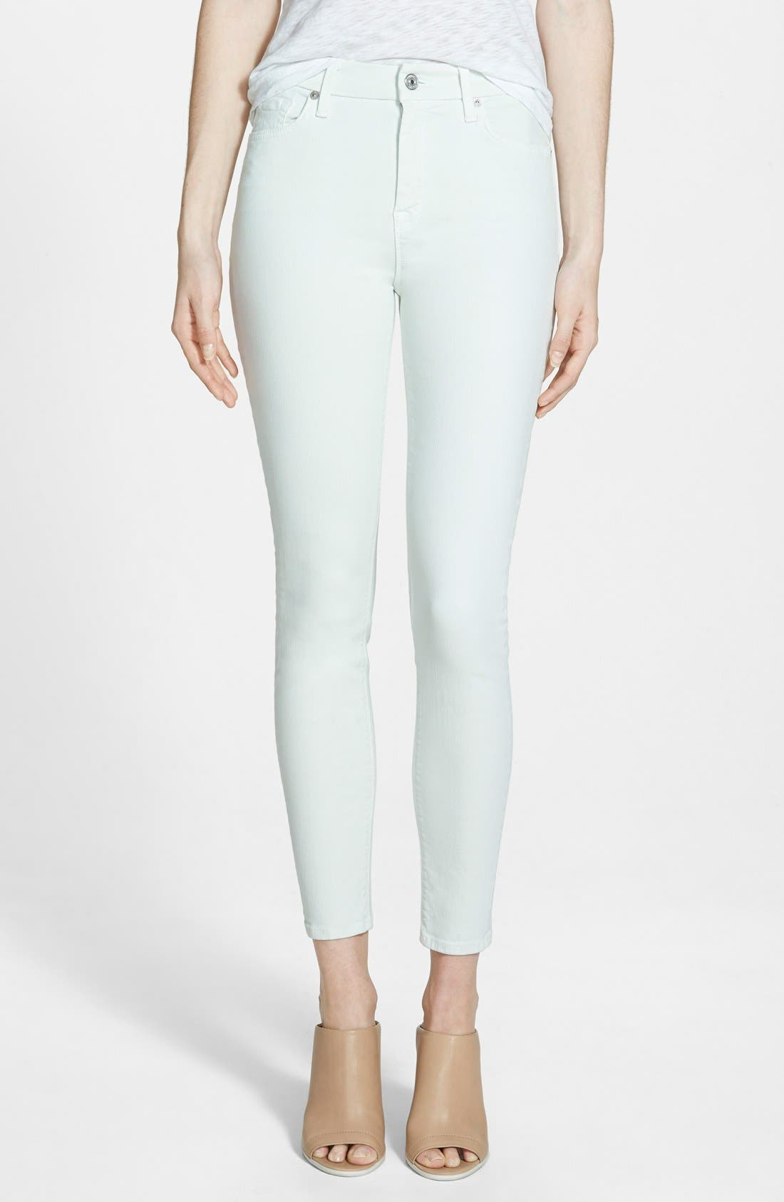 Alternate Image 1 Selected - 7 For All Mankind® High Rise Ankle Skinny Jeans (Light Mint)