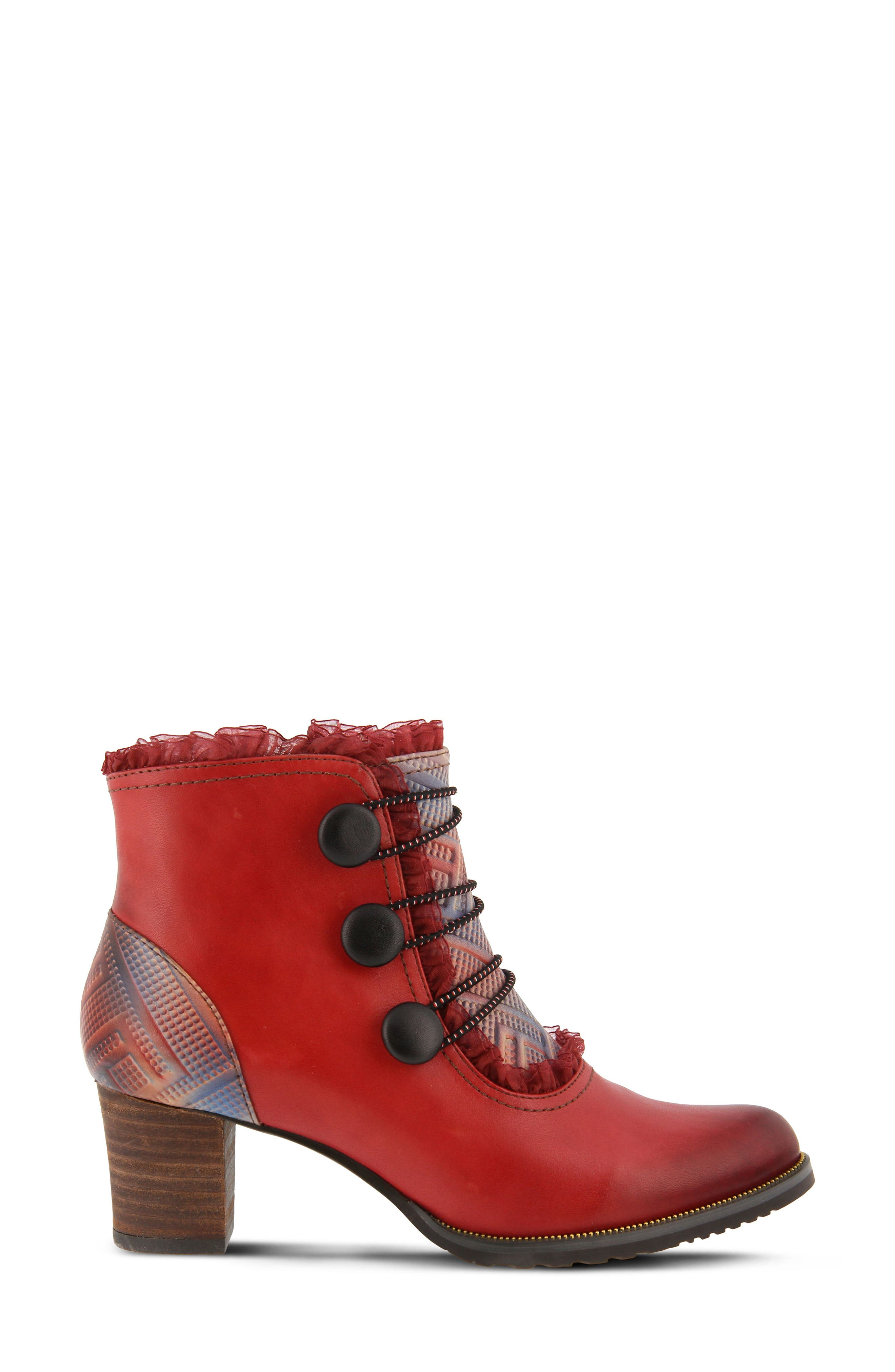 L'Artiste Conchita Boot,                             Alternate thumbnail 3, color,                             Red Leather