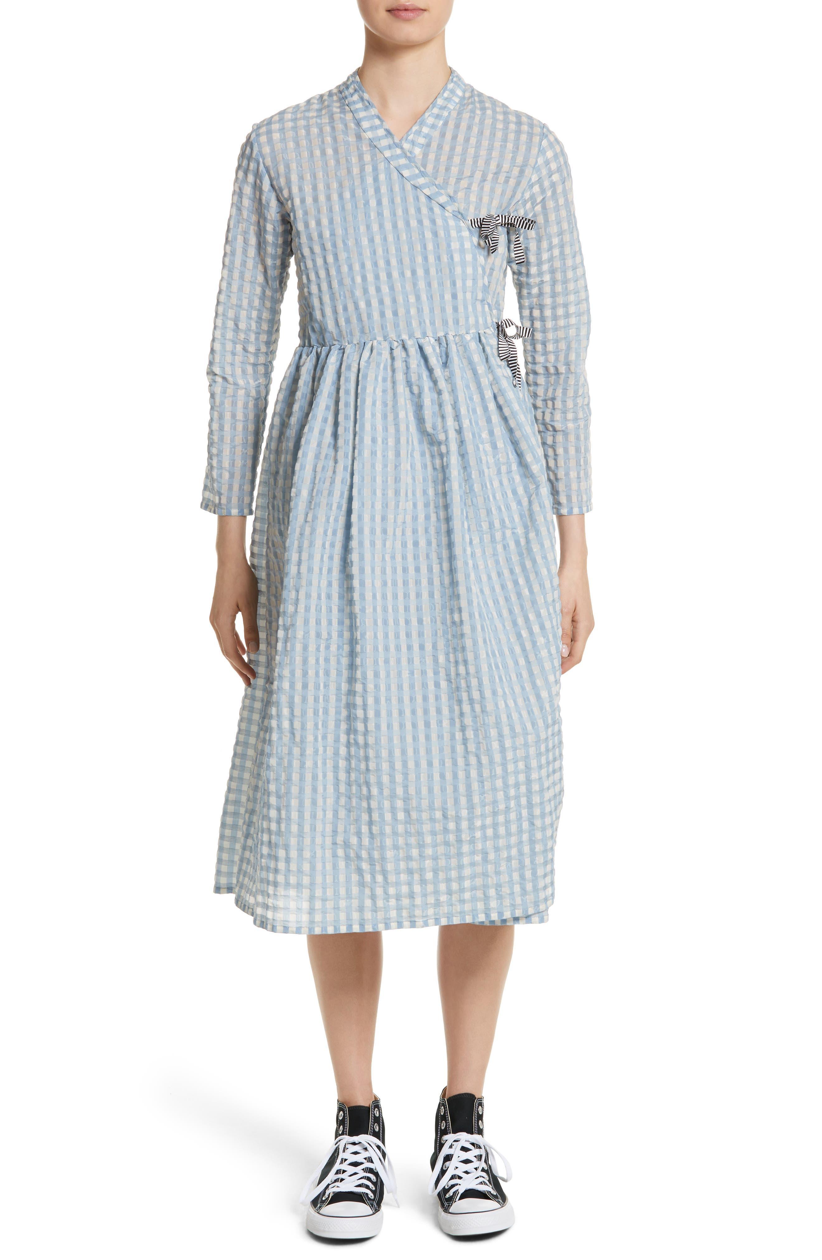 Hermione Gingham Seersucker Dress,                             Main thumbnail 1, color,                             Blue
