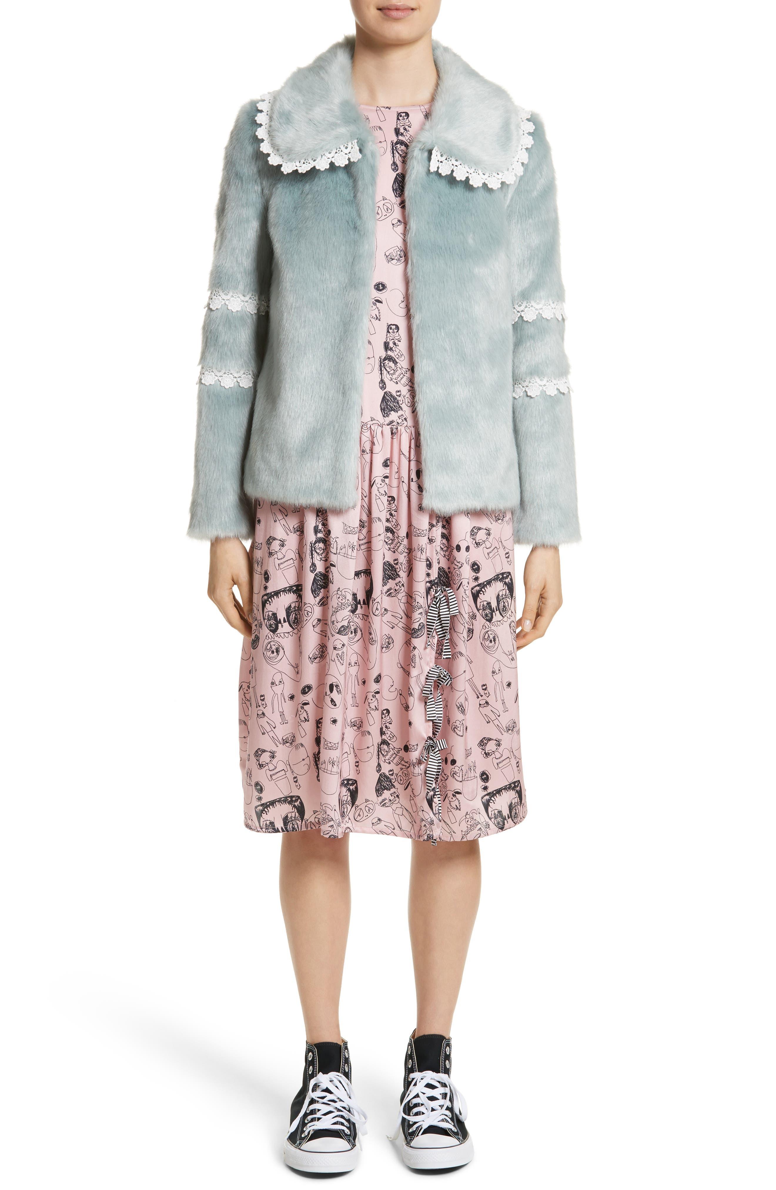 Heather Print Silk Dress,                             Alternate thumbnail 7, color,                             Rosette / Black
