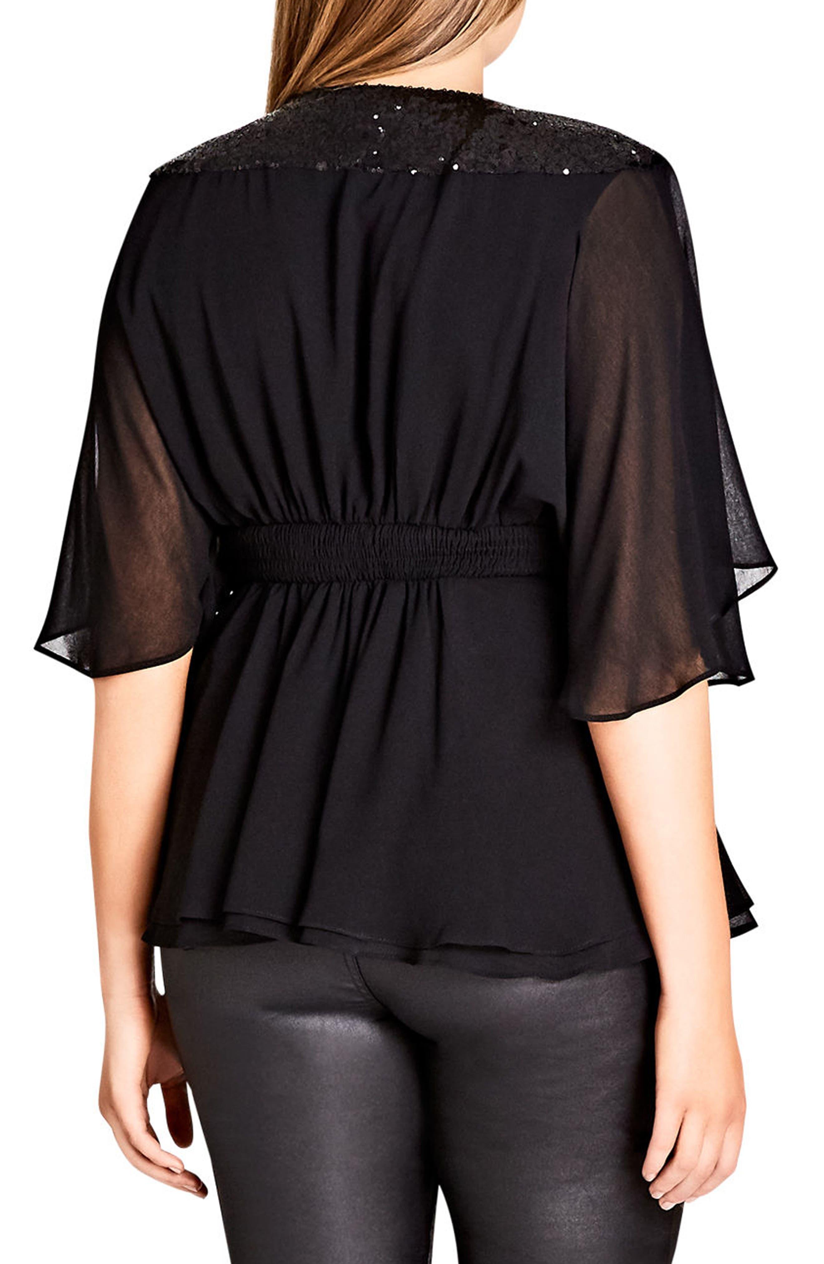 Sequin Wrap Top,                             Alternate thumbnail 2, color,                             Black
