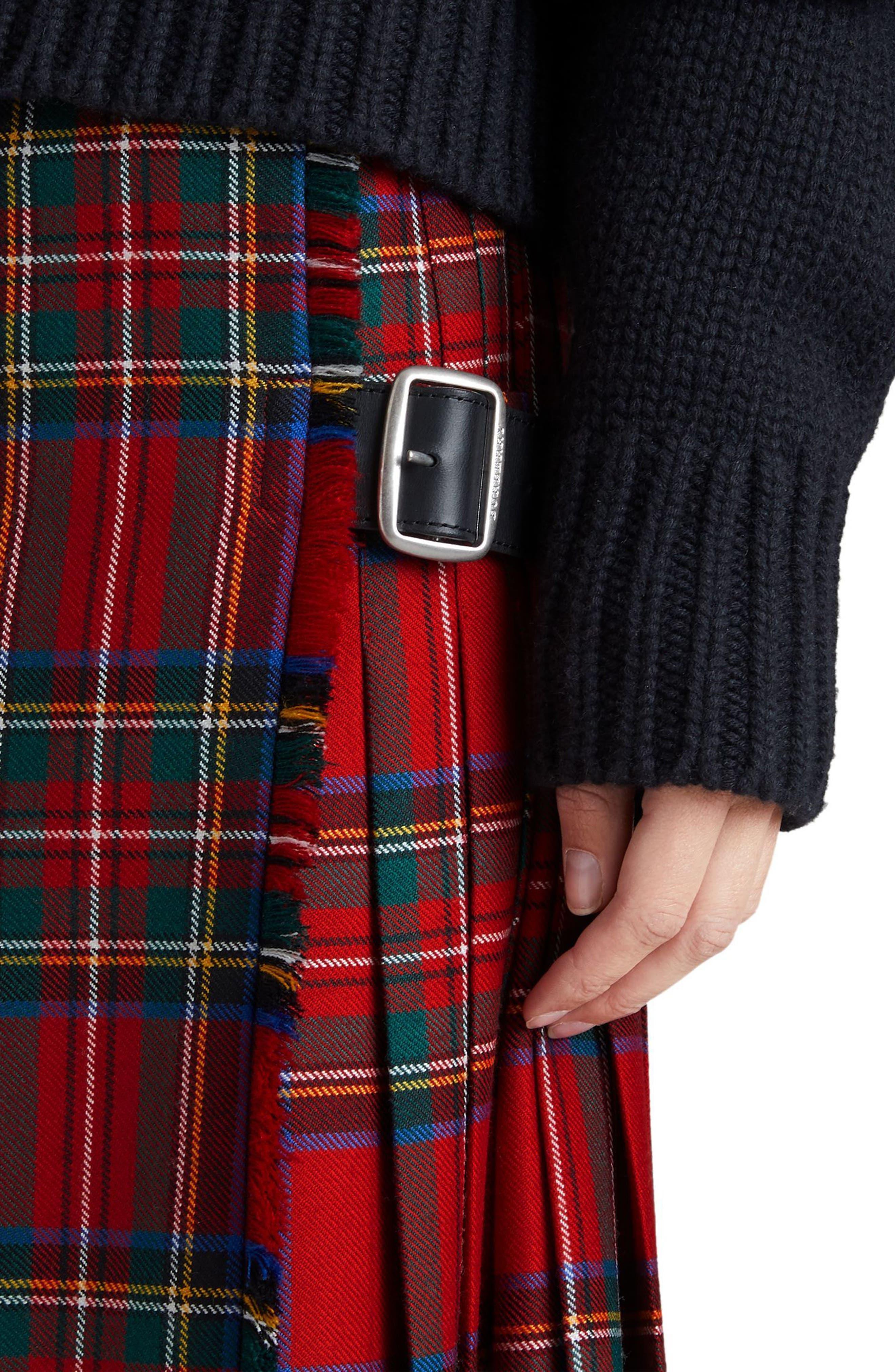 Alternate Image 4  - Burberry Taybridge Pleated Plaid Wool Midi Skirt