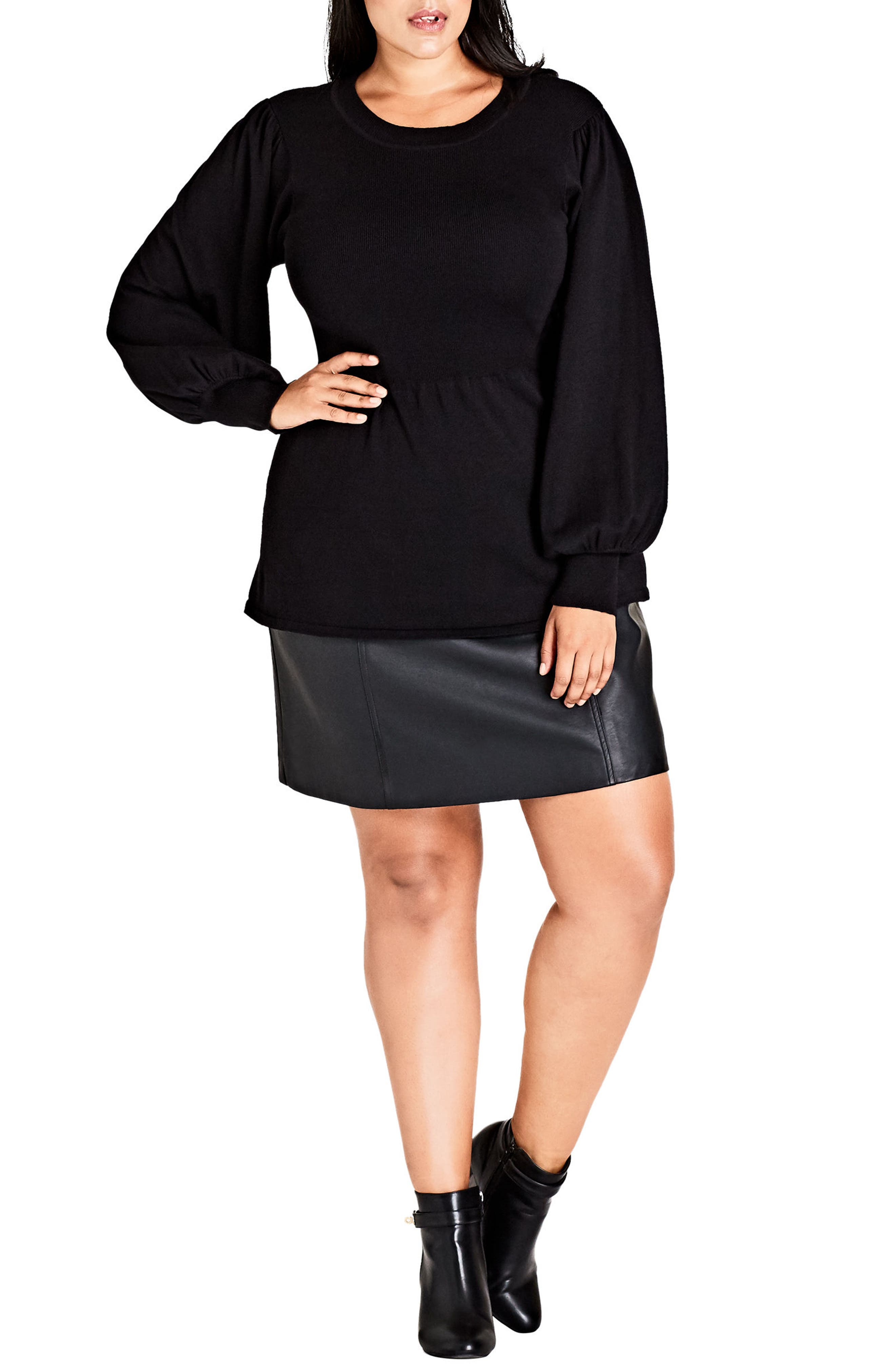 City Chic Super Sleeve Ribbed Sweater (Plus Size)