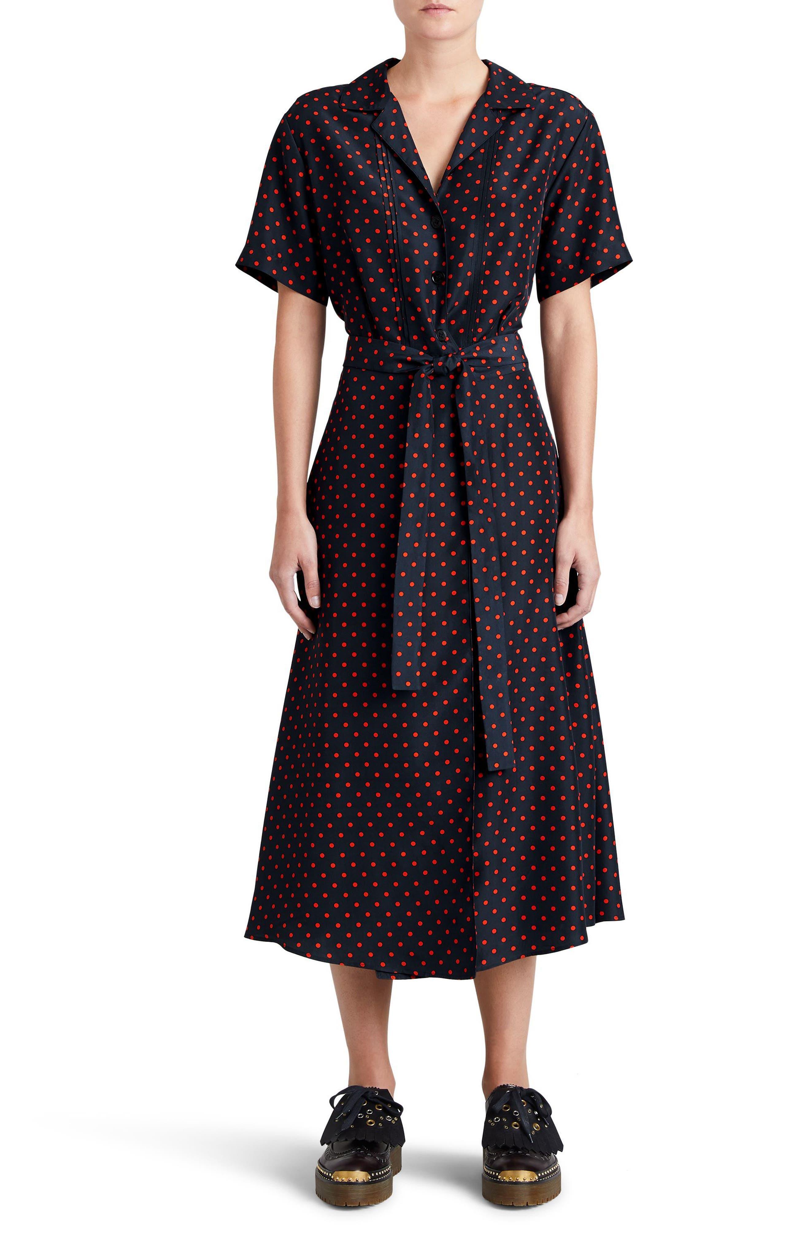 Renata Polka Dot Silk Midi Dress,                             Main thumbnail 1, color,                             Parade Red
