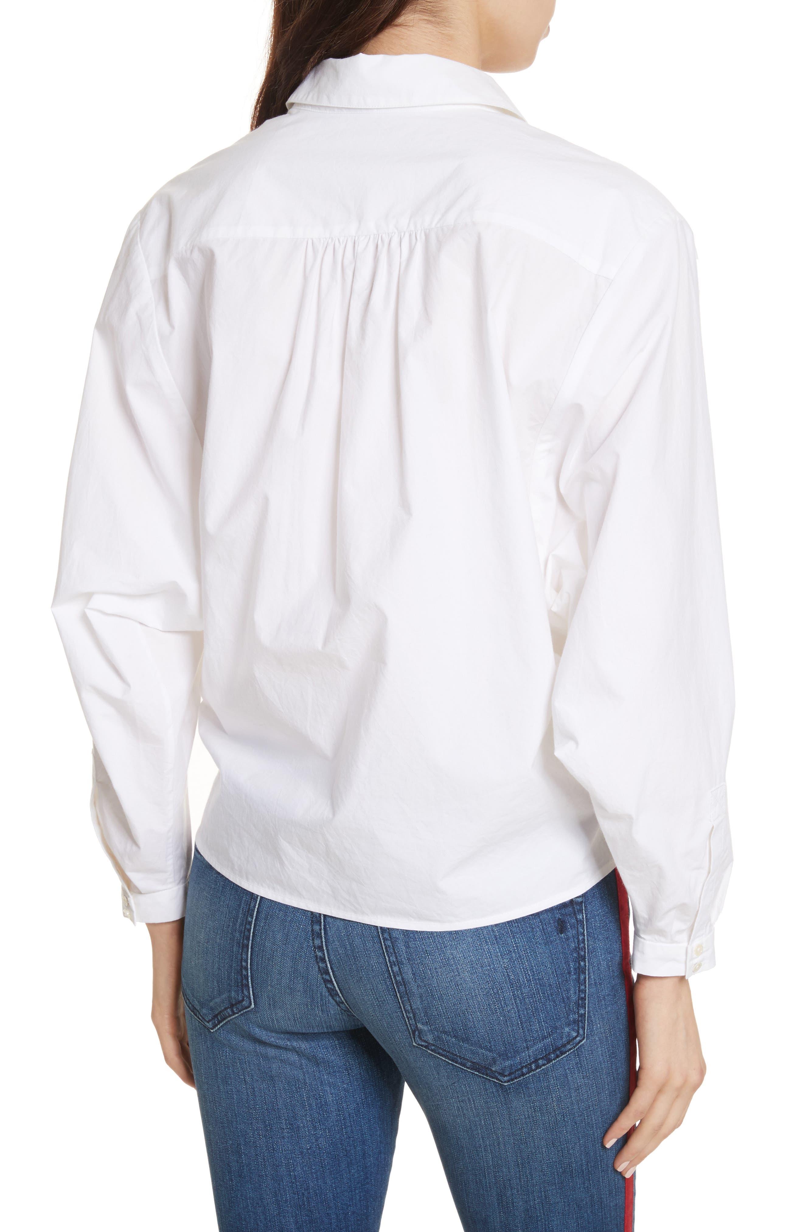 Anjanique B Button Down Cotton Shirt,                             Alternate thumbnail 2, color,                             Clean White