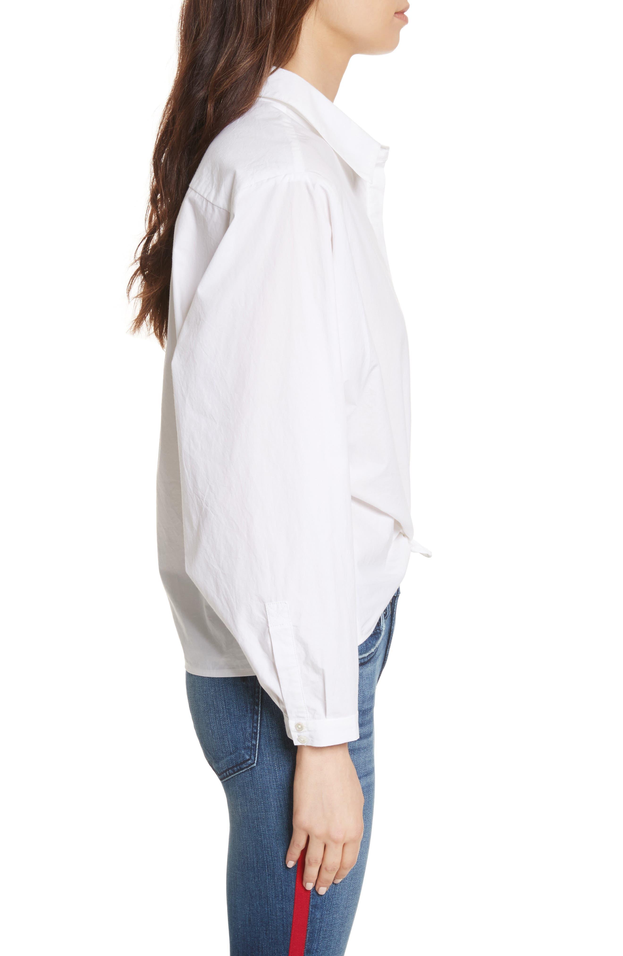 Anjanique B Button Down Cotton Shirt,                             Alternate thumbnail 3, color,                             Clean White
