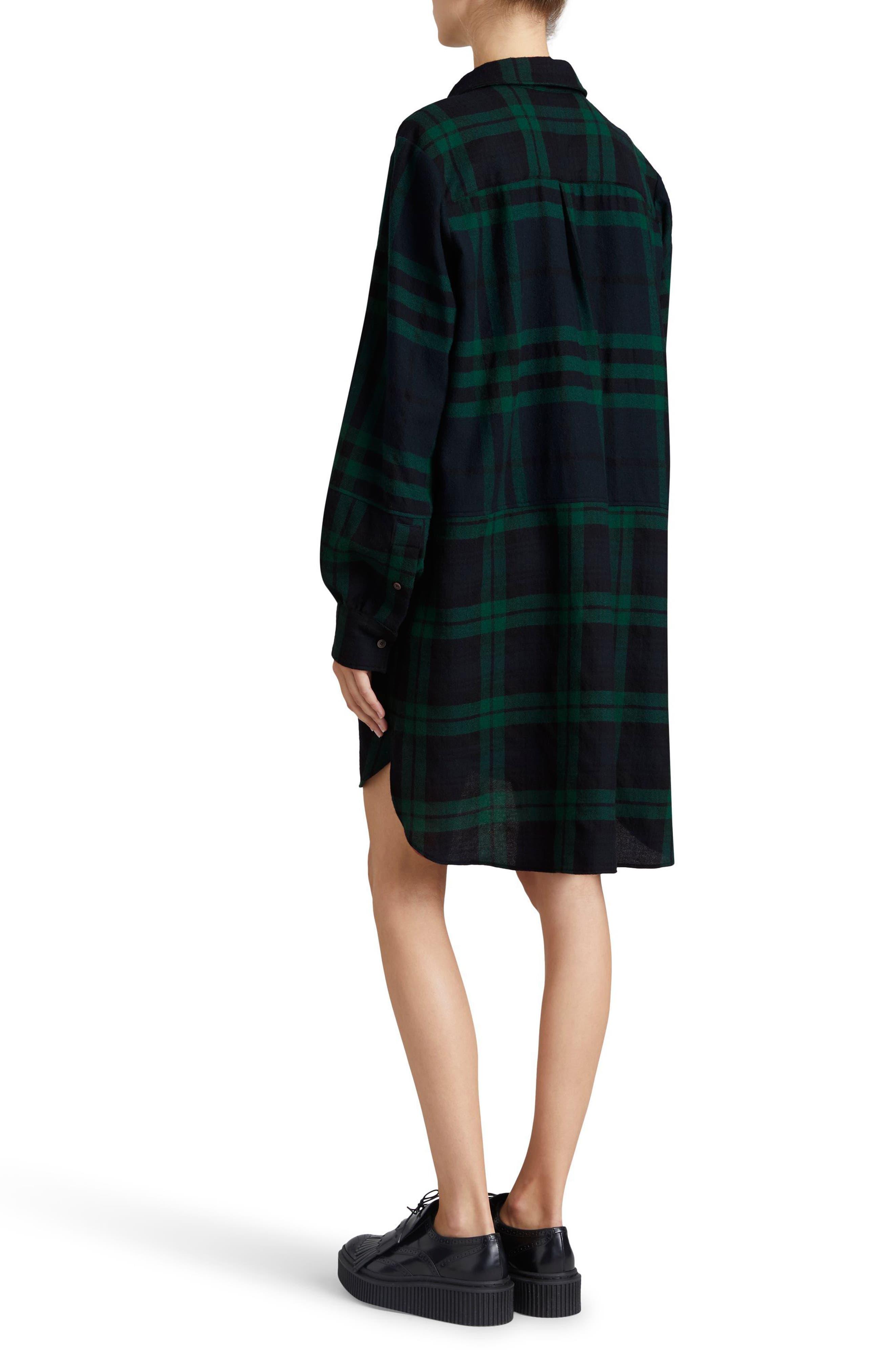 Kylie Check Wool Shirtdress,                             Alternate thumbnail 3, color,                             Navy