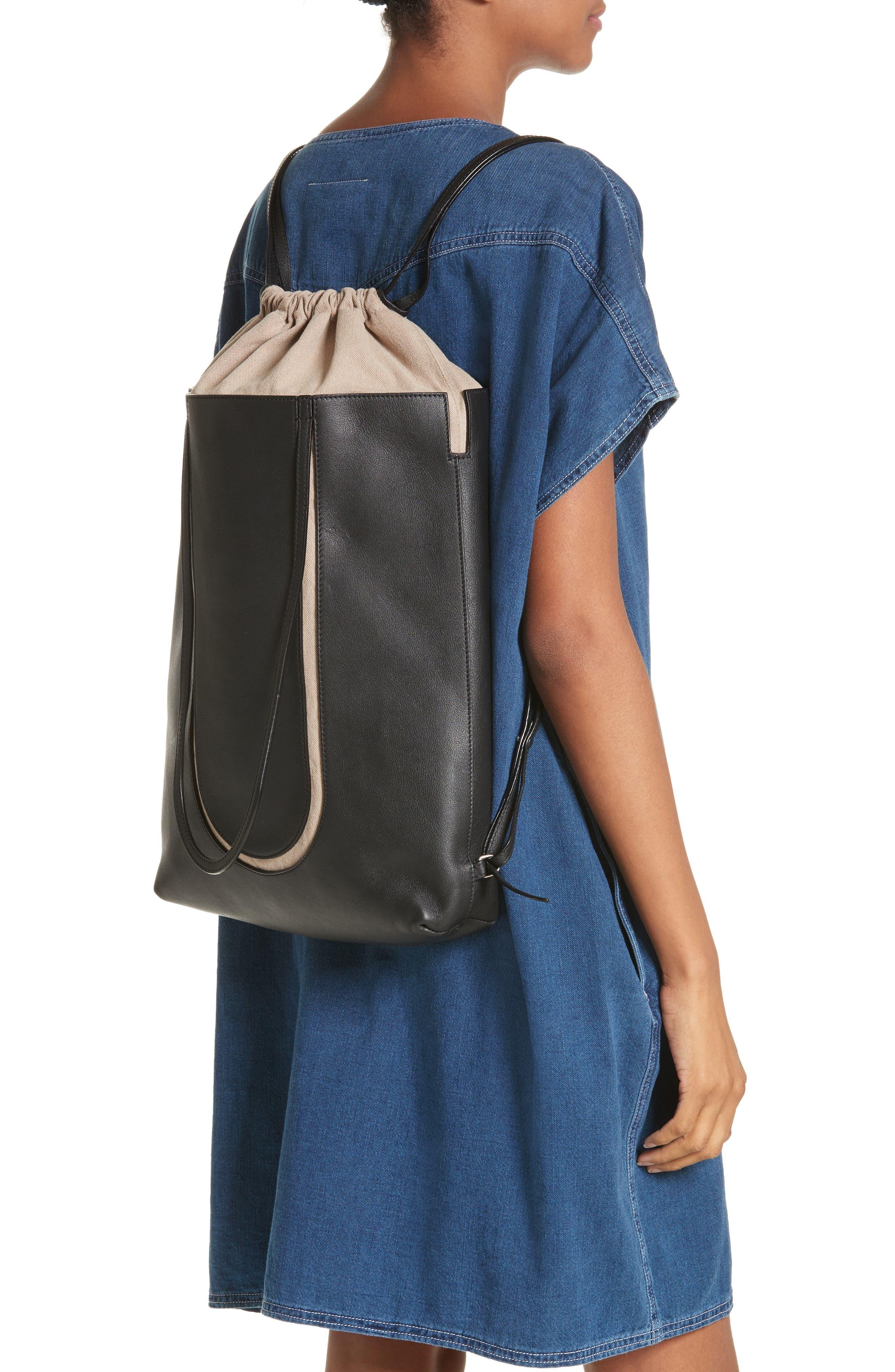 Calfskin Leather Backpack,                             Alternate thumbnail 2, color,                             Black