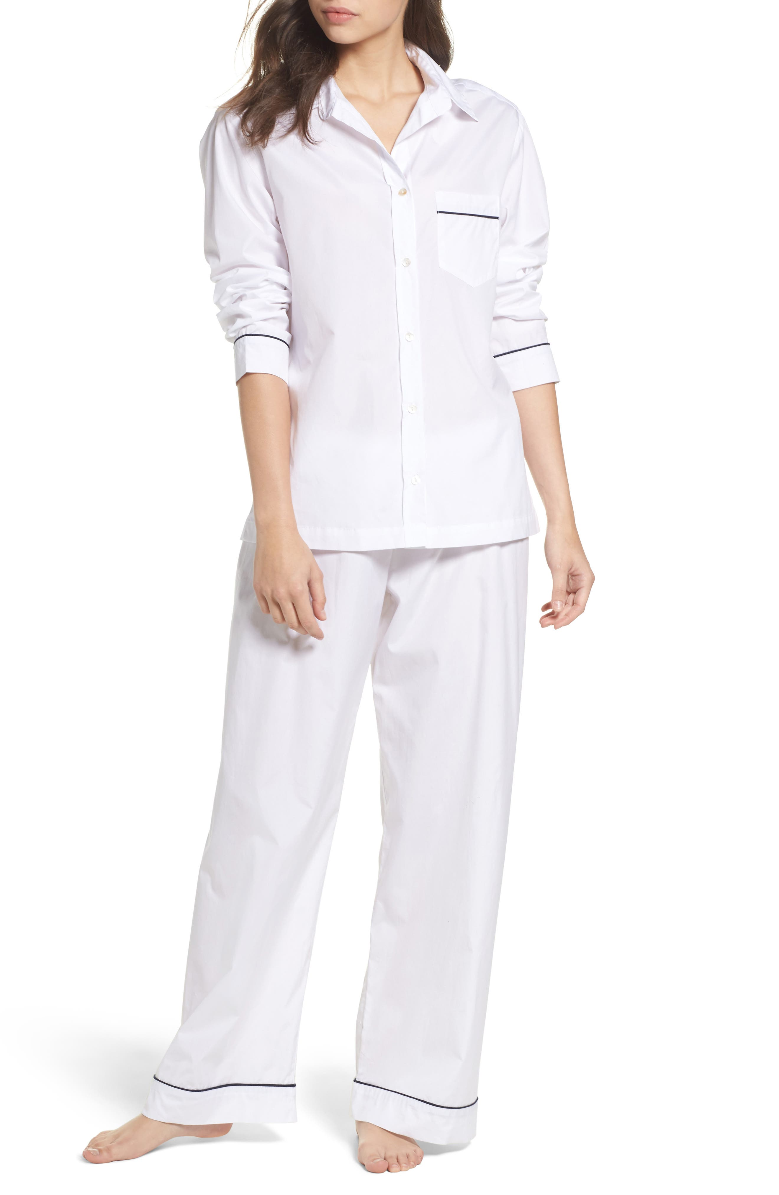 Piped Pajamas,                         Main,                         color, White With Navy Piping