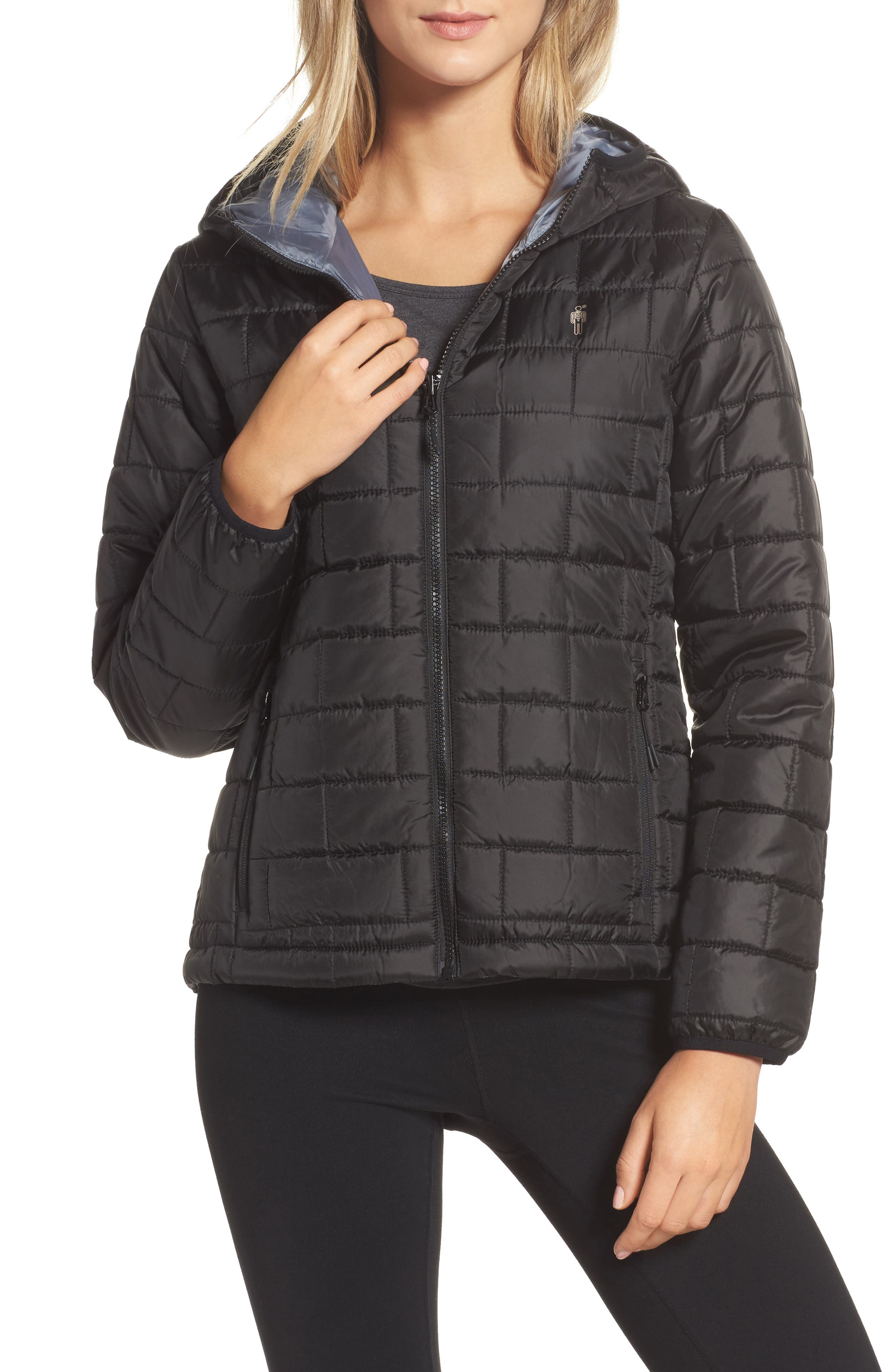 Highland Reversible Water-Resistant & Windproof Quilted Puffer Jacket,                         Main,                         color, Black/ Gunmetal