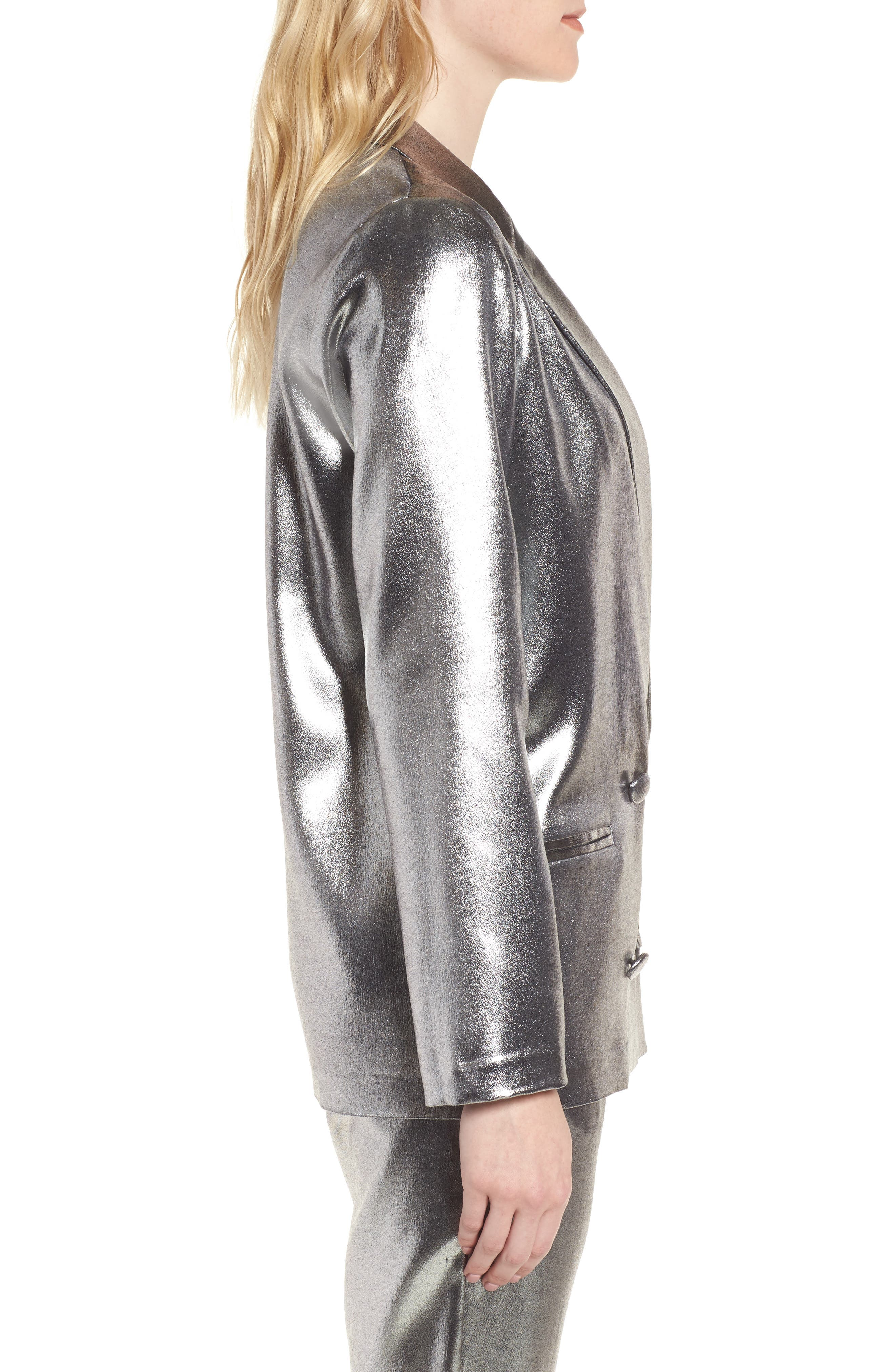 Alternate Image 3  - Topshop Metallic Suit Jacket