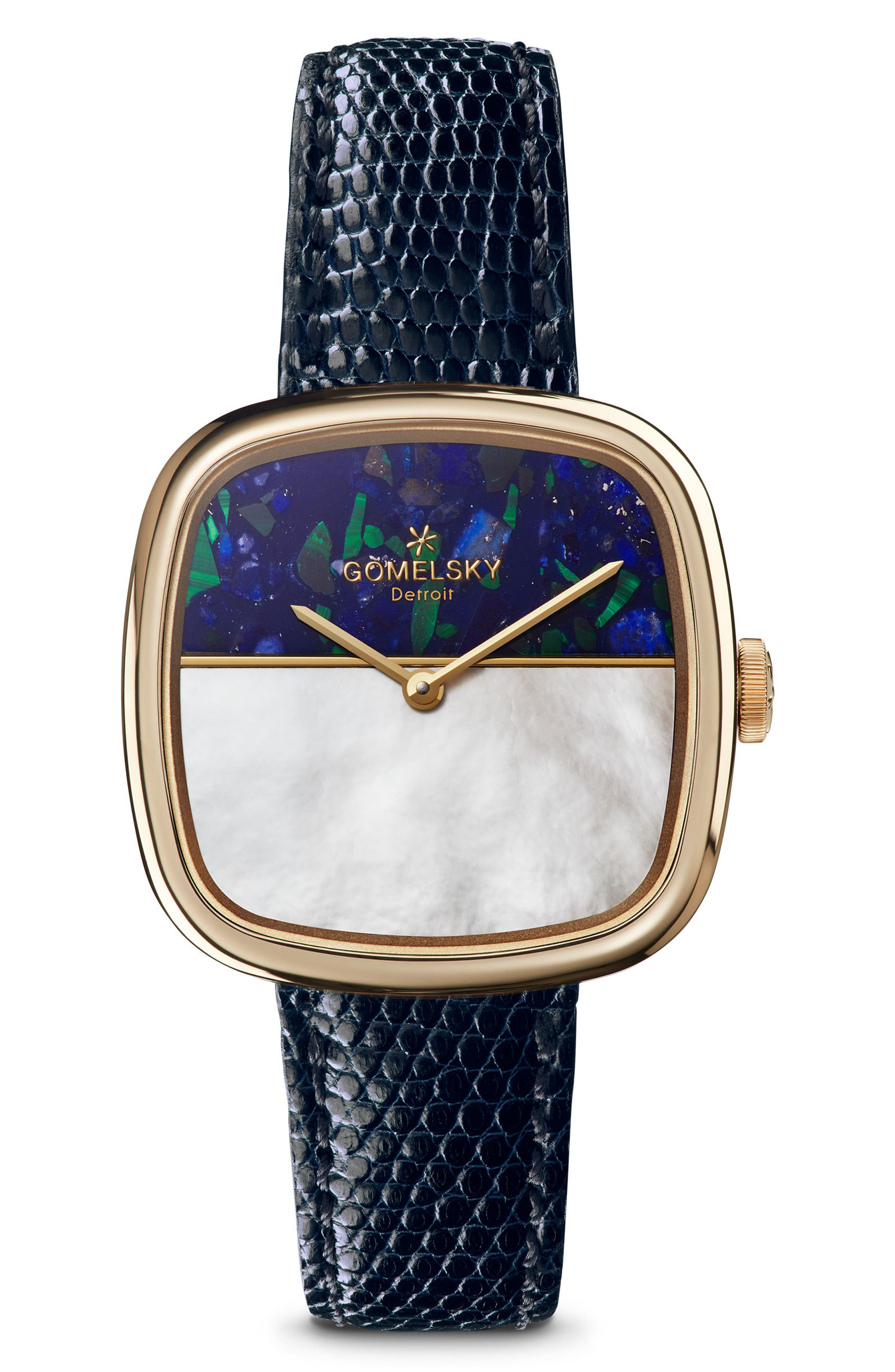 The Eppie Sneed Mini Lizardskin Strap Watch, 32mm,                         Main,                         color, Navy/ Mop Malachite/ Gold