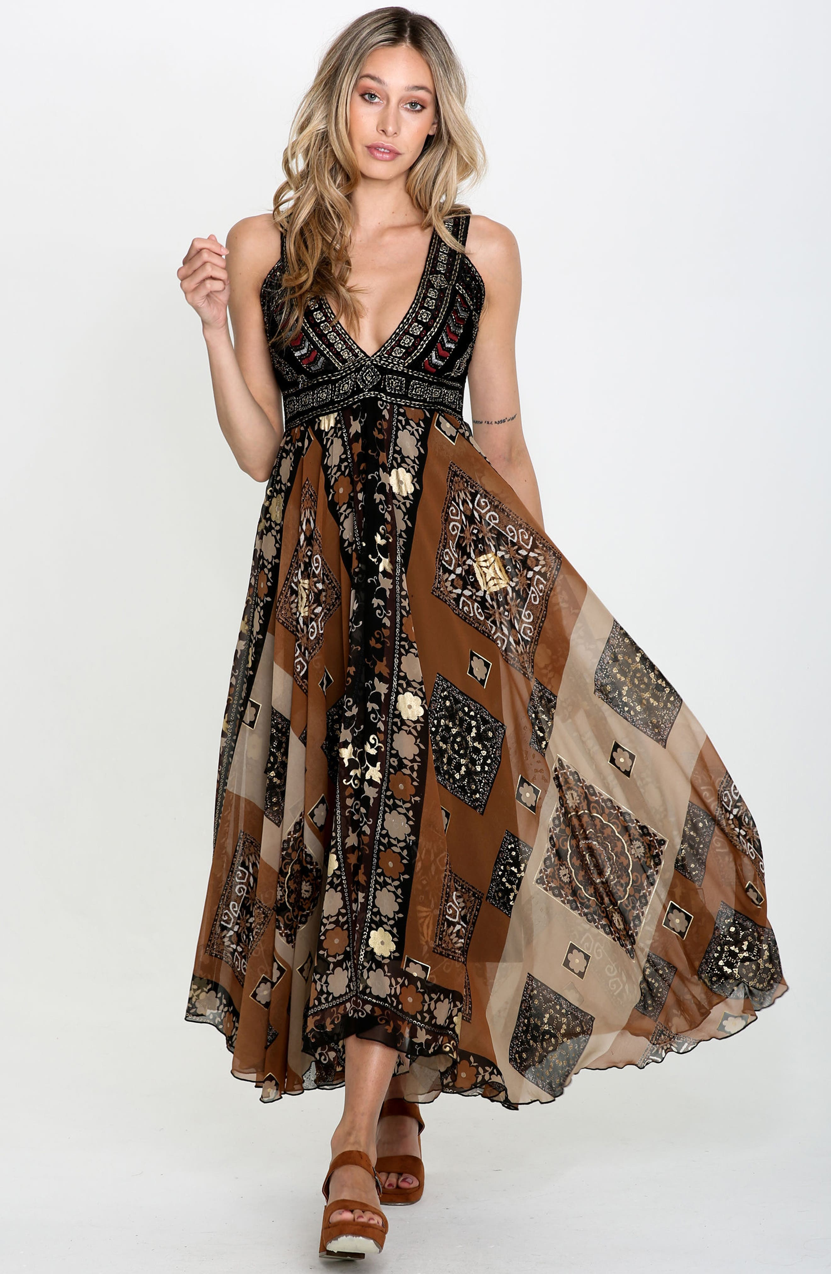 Sonder Embroidered Maxi Dress,                             Alternate thumbnail 2, color,                             Brown