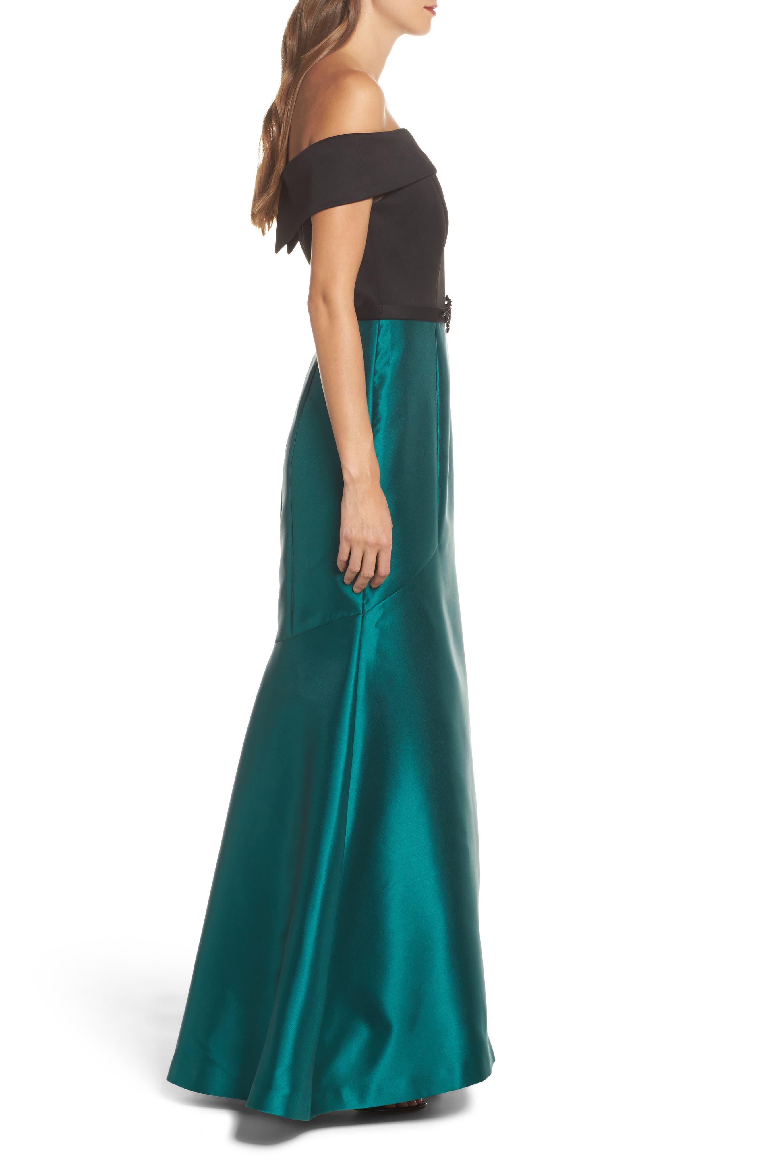 Mixed Media Off the Shoulder Trumpet Gown,                             Alternate thumbnail 3, color,                             Black Emerald