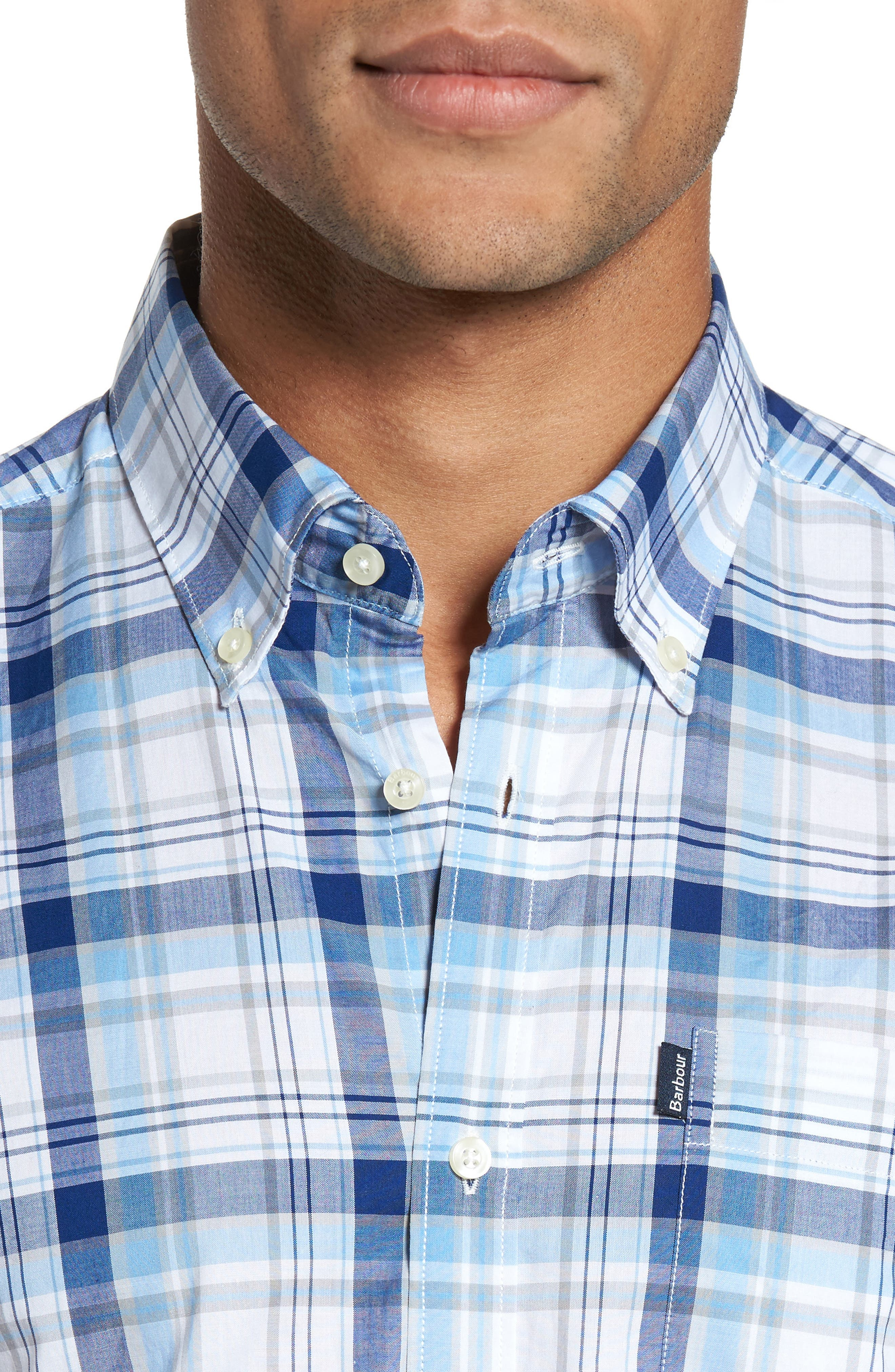 Gerald Tailored Fit Plaid Sport Shirt,                             Alternate thumbnail 4, color,                             Blue