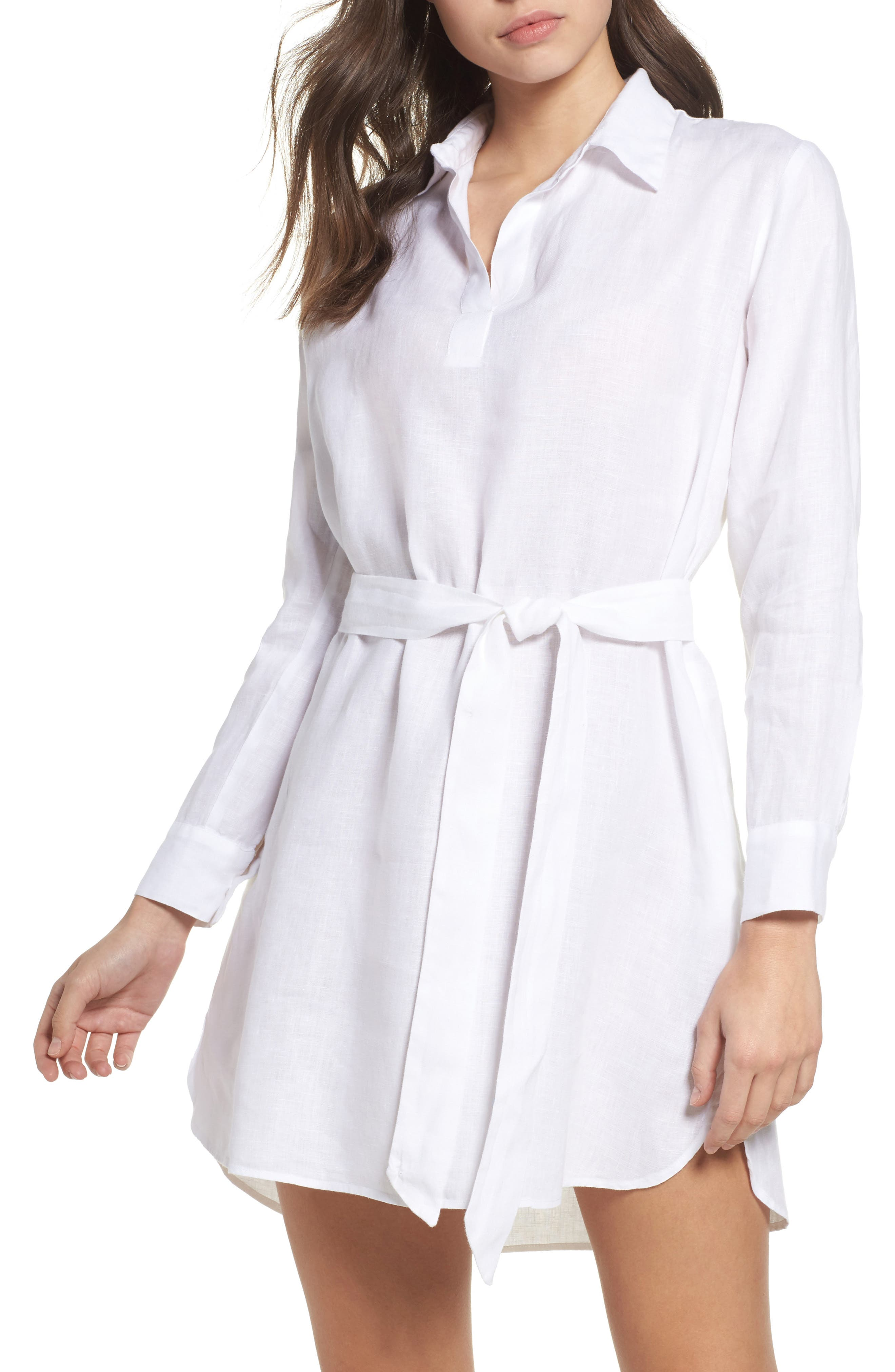 Linen Shirtdress,                         Main,                         color, White