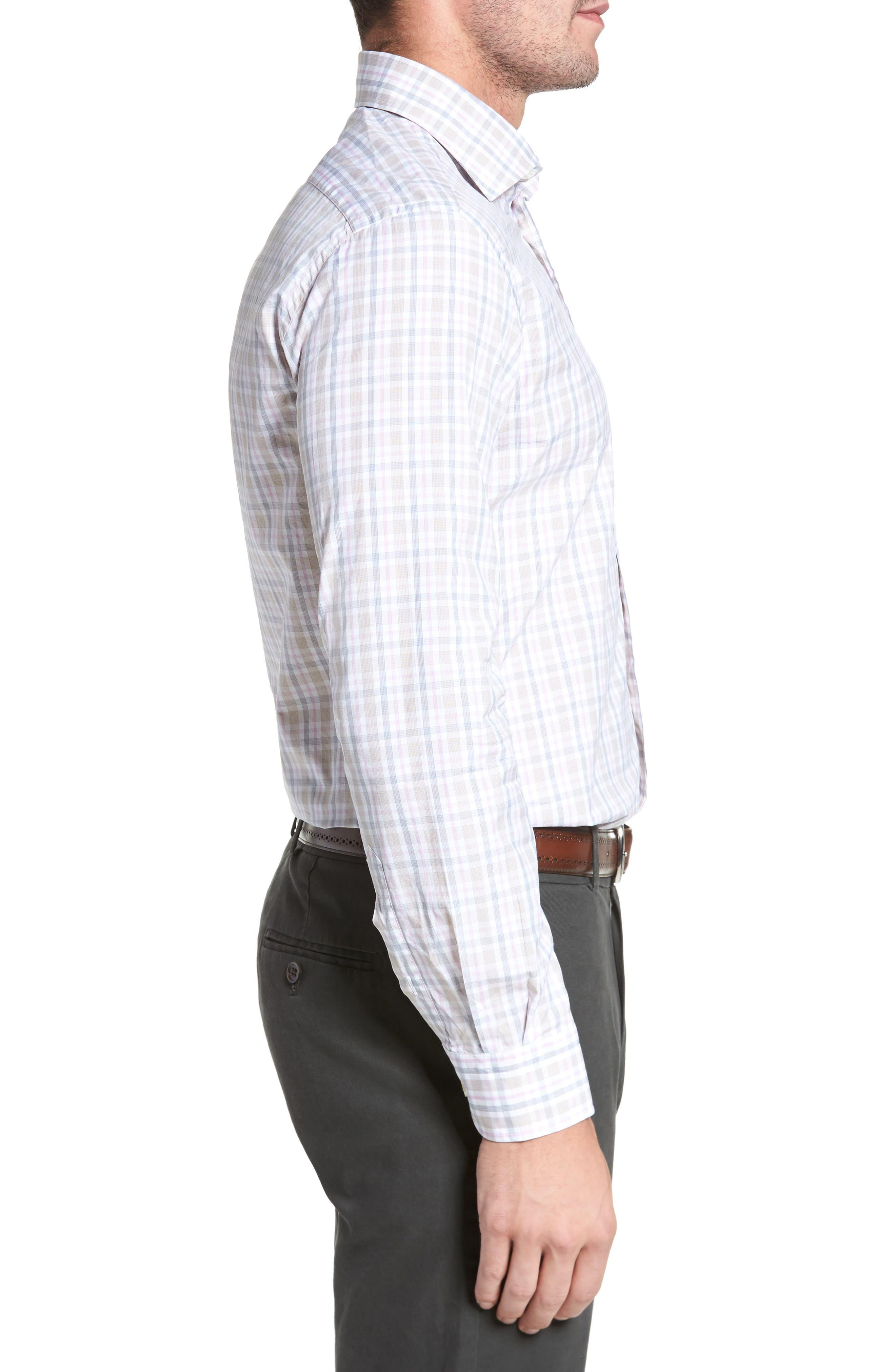 Classic Fit Check Sport Shirt,                             Alternate thumbnail 3, color,                             Tan