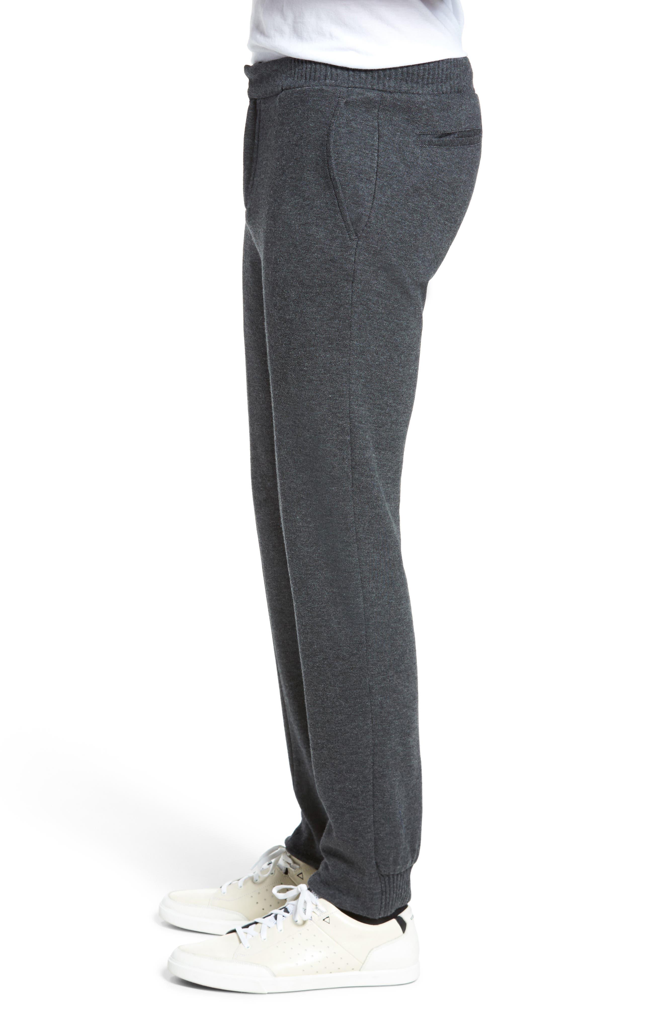 Jordan Flat Front Cotton Jogger Trousers,                             Alternate thumbnail 3, color,                             Medium Grey
