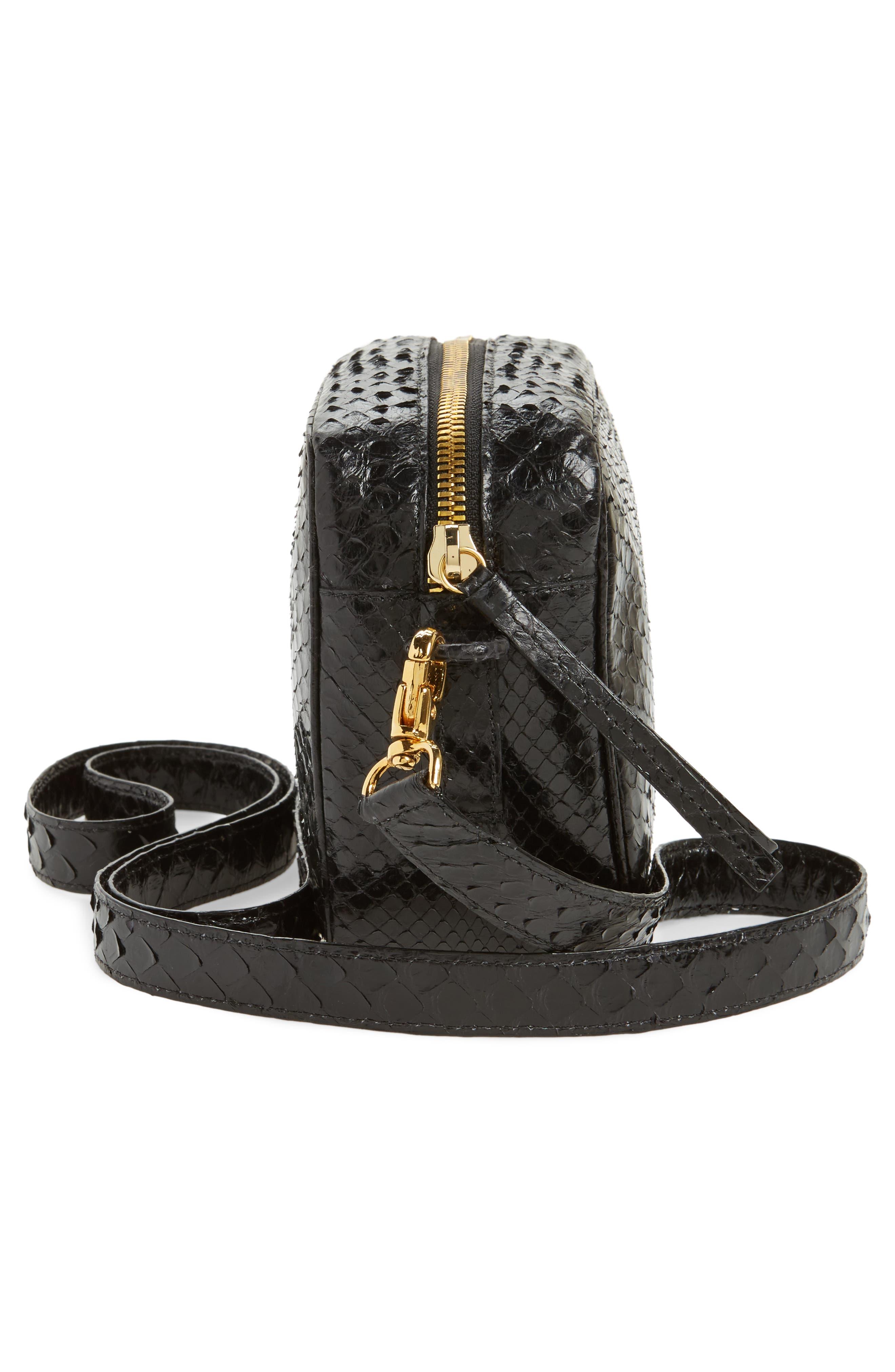 Genuine Python Shoulder Bag,                             Alternate thumbnail 5, color,                             Black