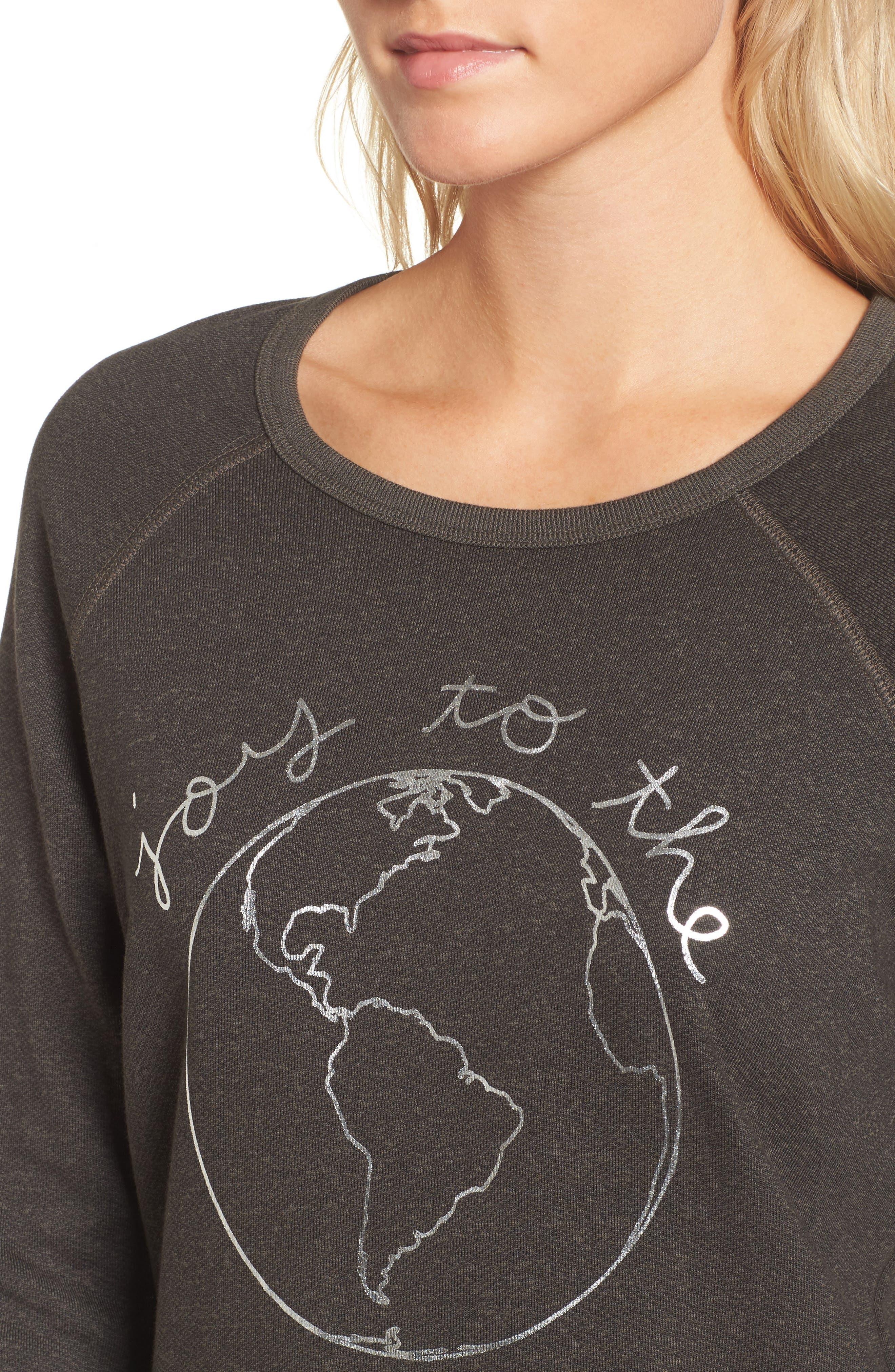 Joy to the World Sweatshirt,                             Alternate thumbnail 4, color,                             Black