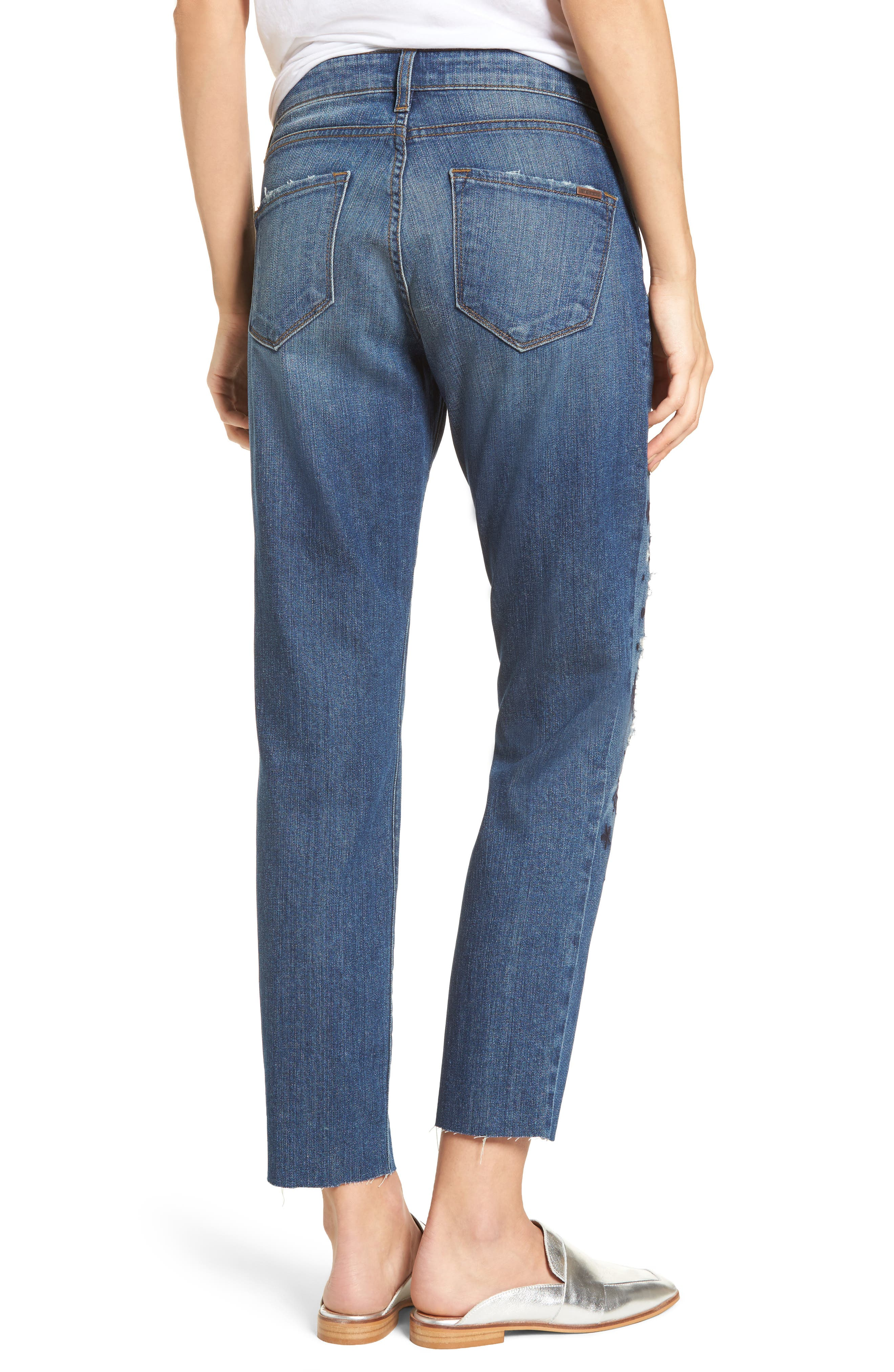 Taylor Ripped Embroidered Straight Leg Jeans,                             Alternate thumbnail 2, color,                             Rosedale