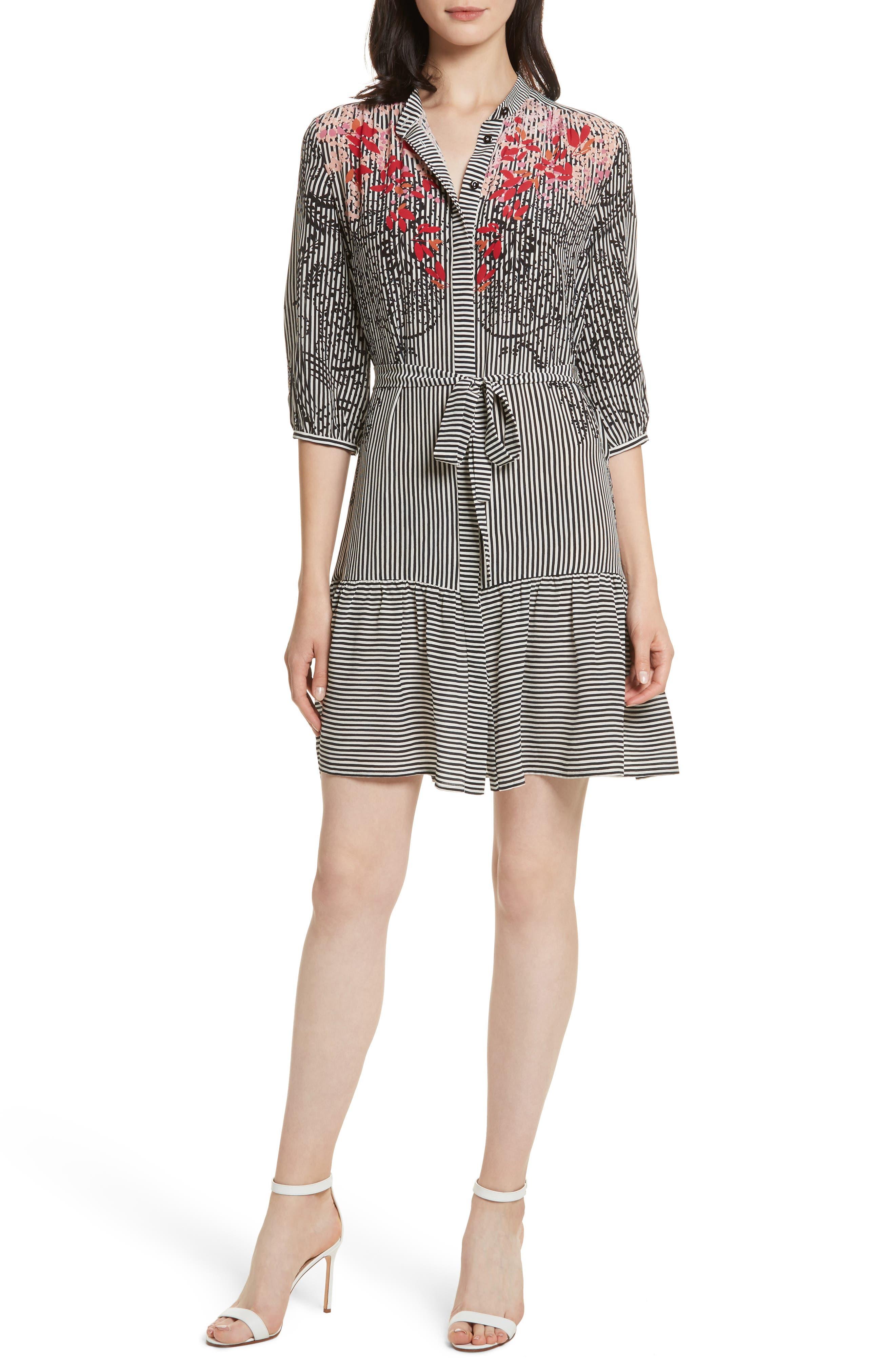 Main Image - SALONI Tyra Print Silk Fit & Flare Dress