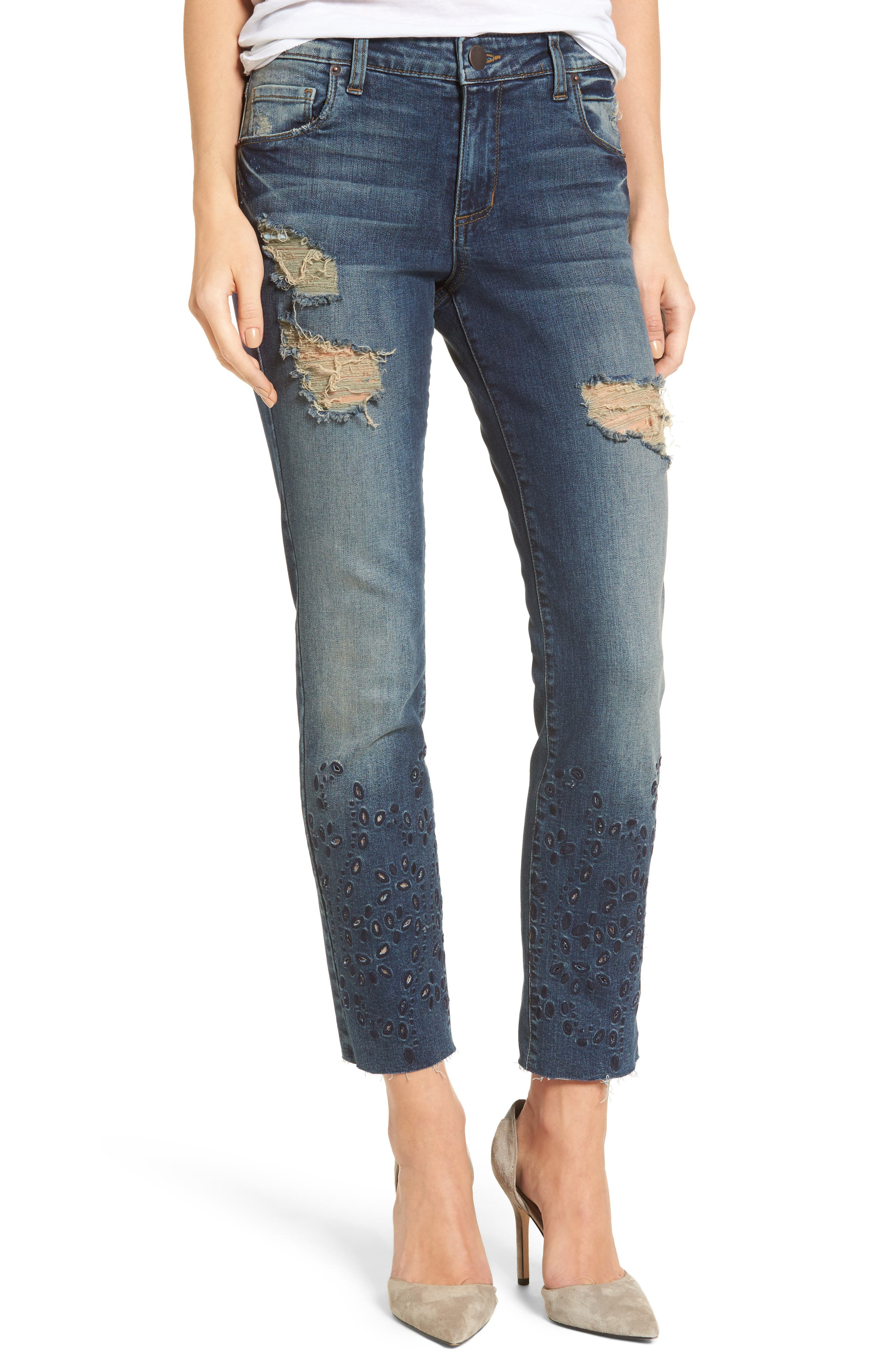 Taylor Ripped Eyelet Straight Leg Jeans,                         Main,                         color, White Oaks