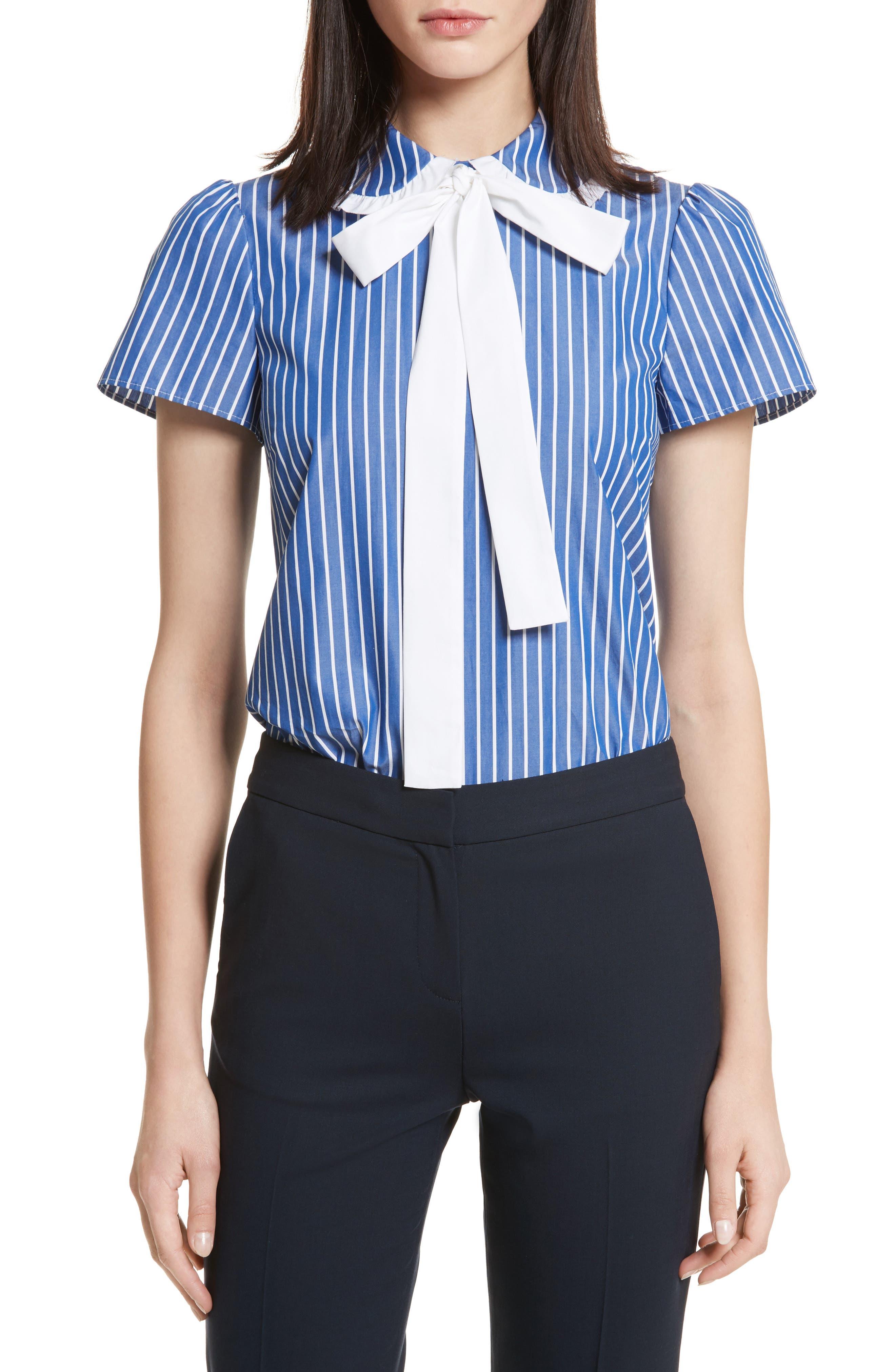 Tie Neck Stripe Cotton Poplin Top,                         Main,                         color, Navy
