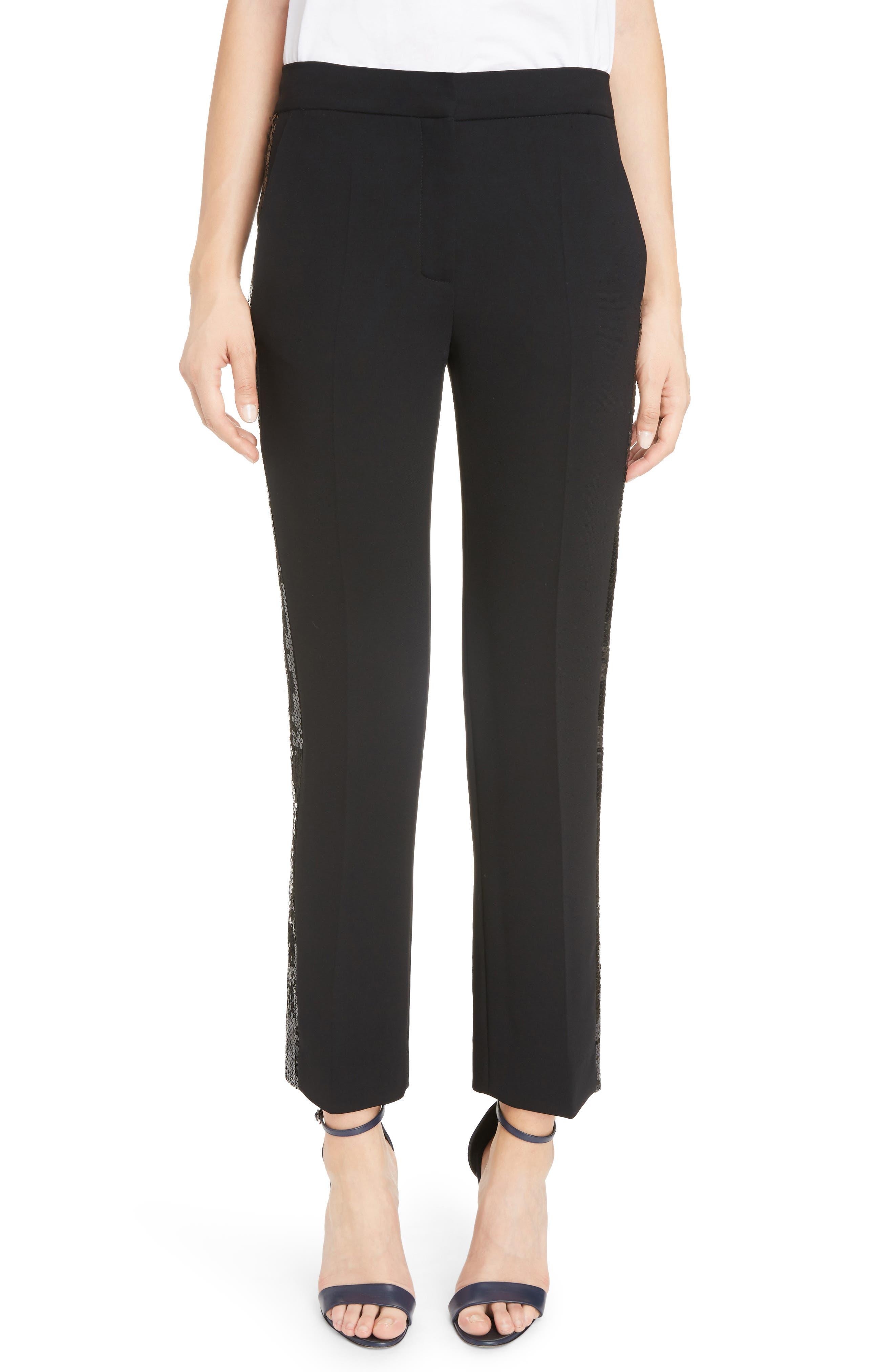 Victoria, Victoria Beckham Sequin Stripe Straight Leg Pants