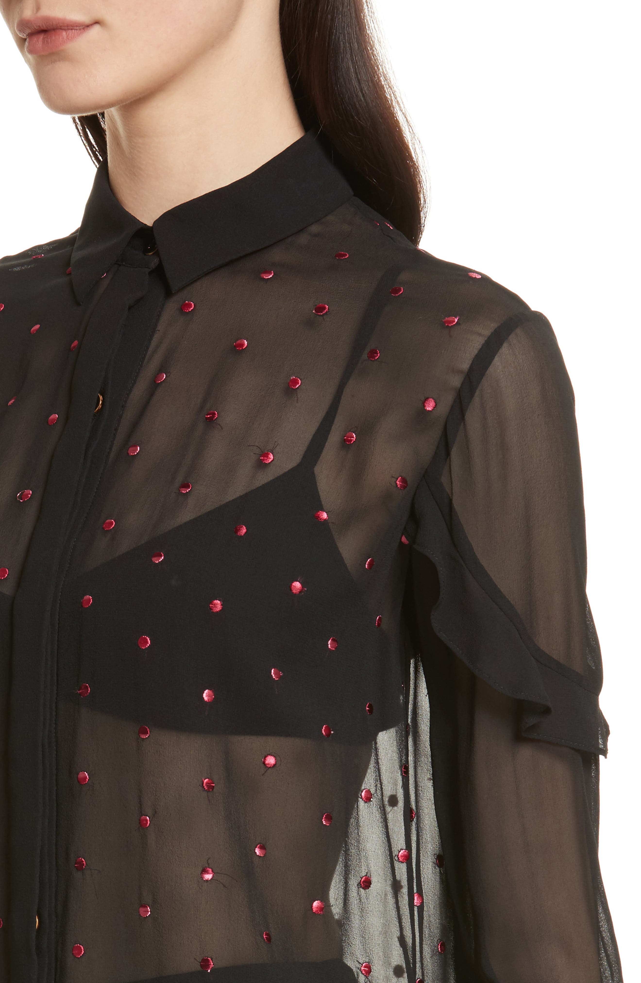 Myra Embroidered Silk Shirt,                             Alternate thumbnail 4, color,                             Black Rose Ombre Dots