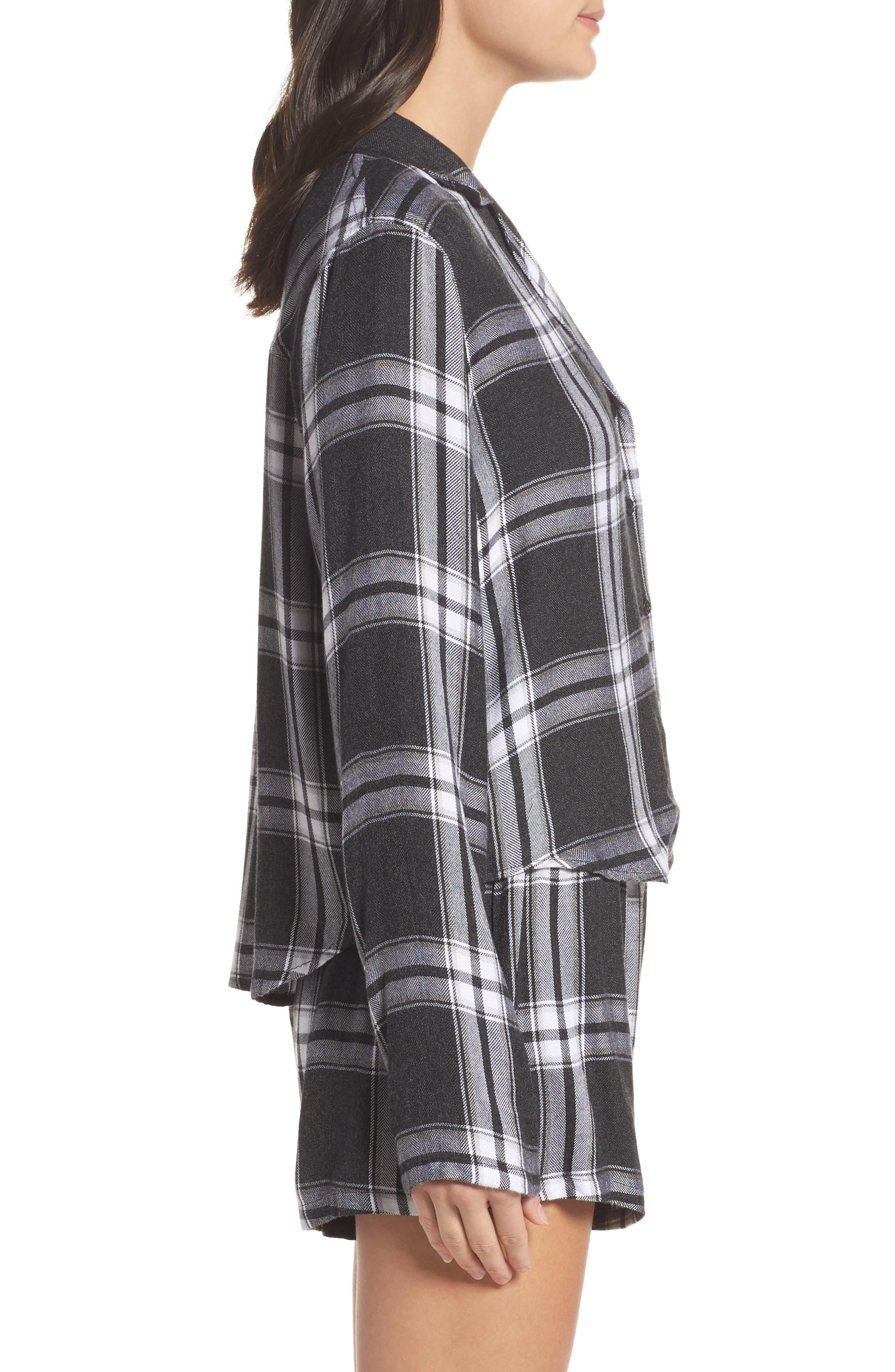 Plaid Short Pajamas,                             Alternate thumbnail 3, color,                             Ash/ Bone