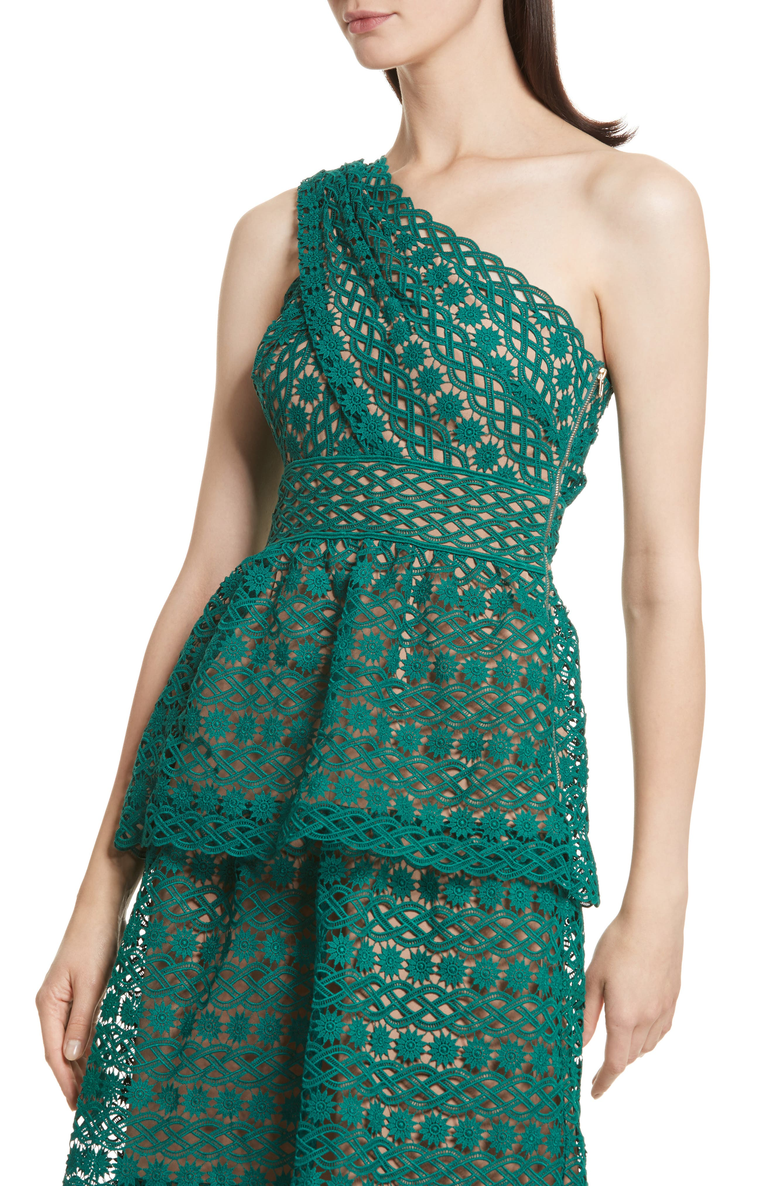 Lace One-Shoulder Midi Dress,                             Alternate thumbnail 4, color,                             Green