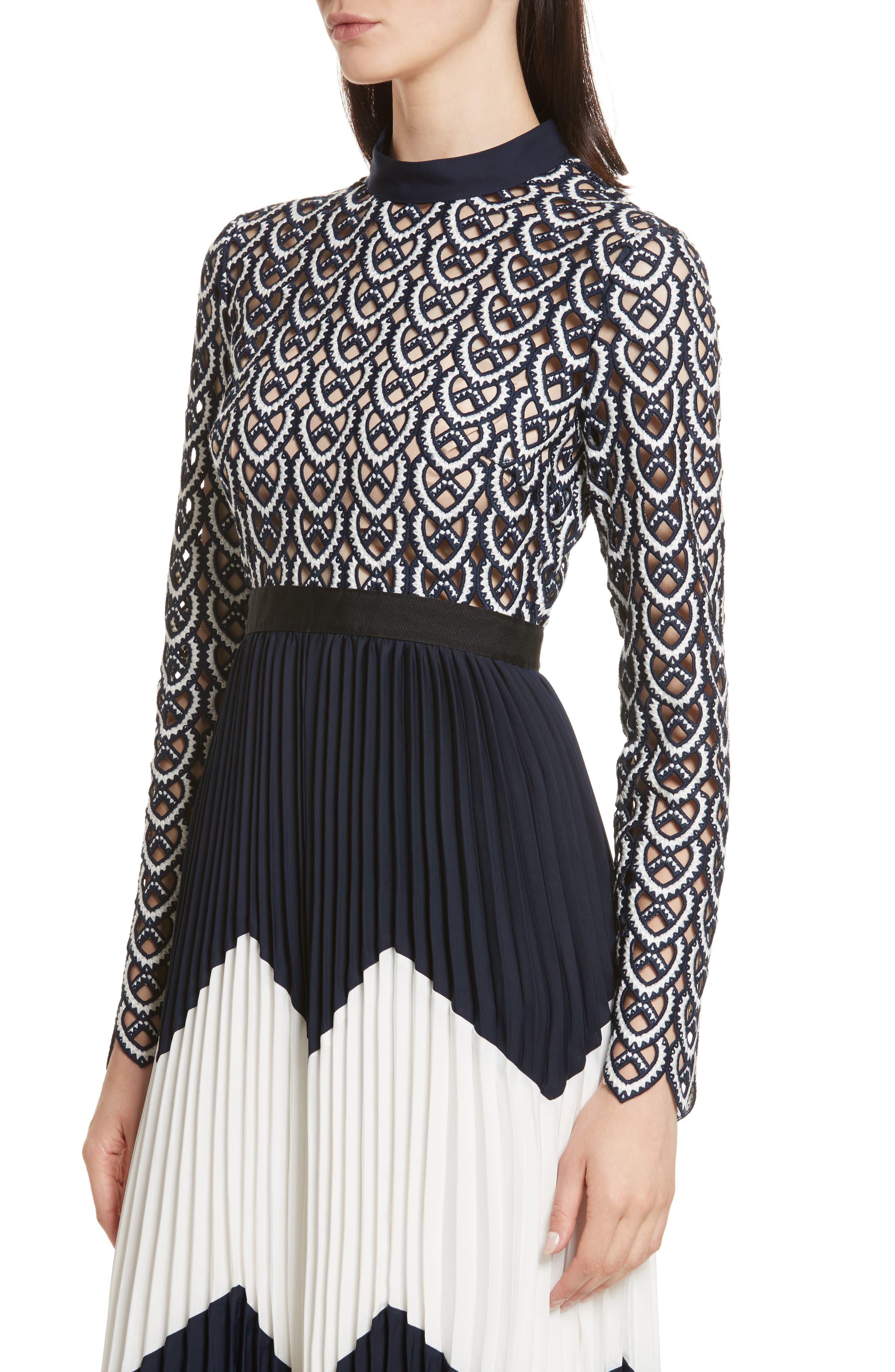 Alternate Image 4  - Self-Portrait Sweetheart Crochet Pleated Midi Dress