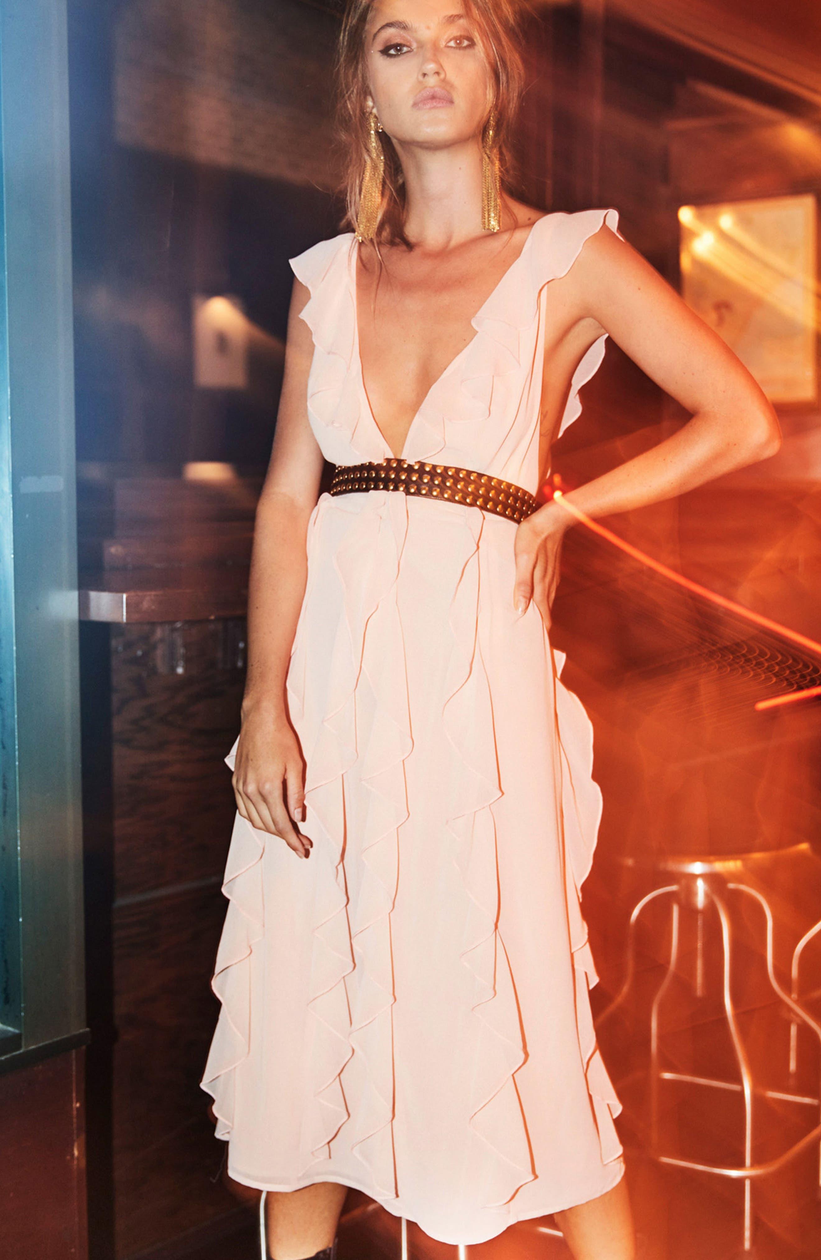 Alternate Image 7  - AFRM Ingrid Ruffle Chiffon Midi Dress