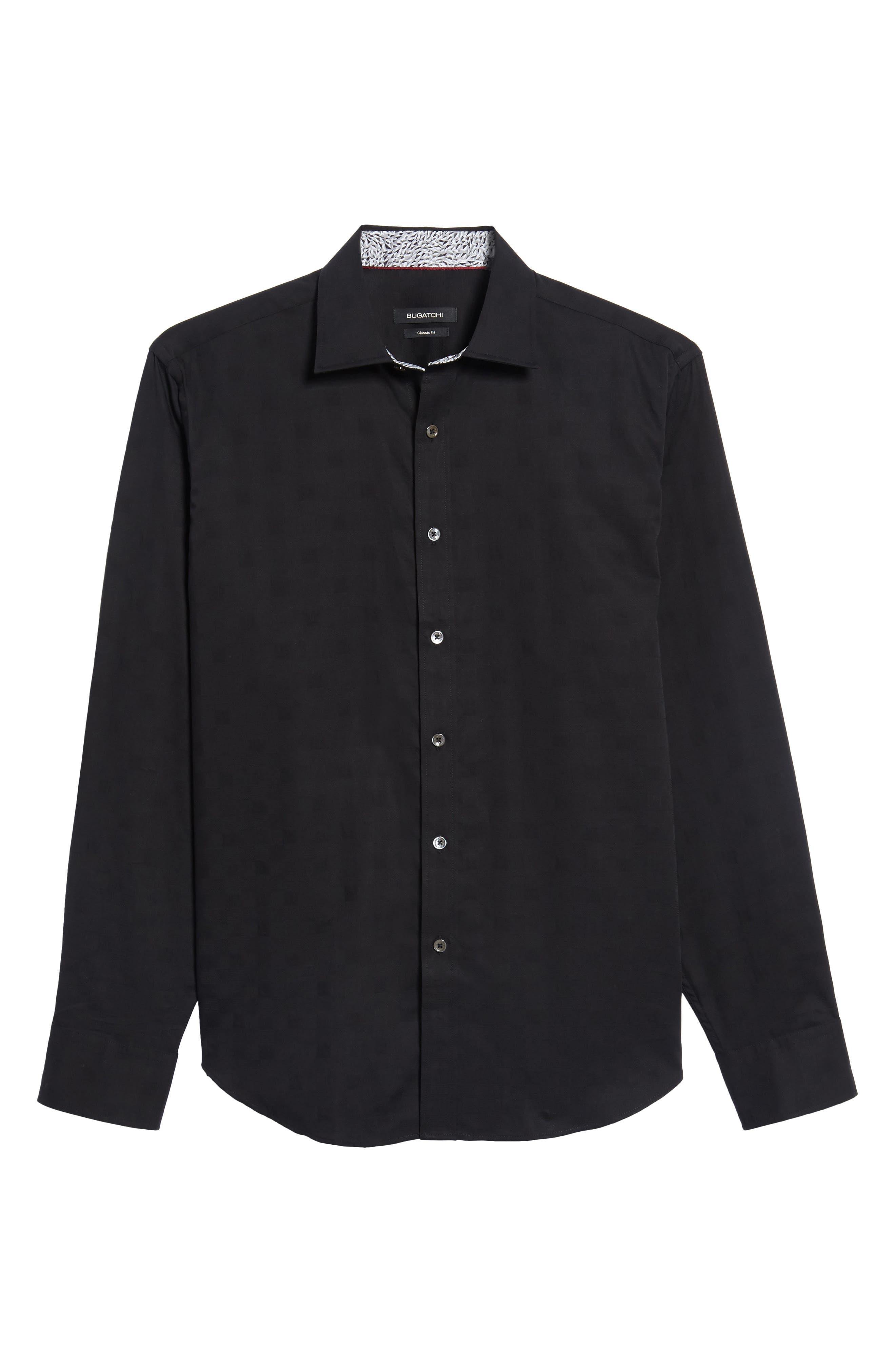 Slim Fit Diamond Jacquard Sport Shirt,                             Alternate thumbnail 6, color,                             Black