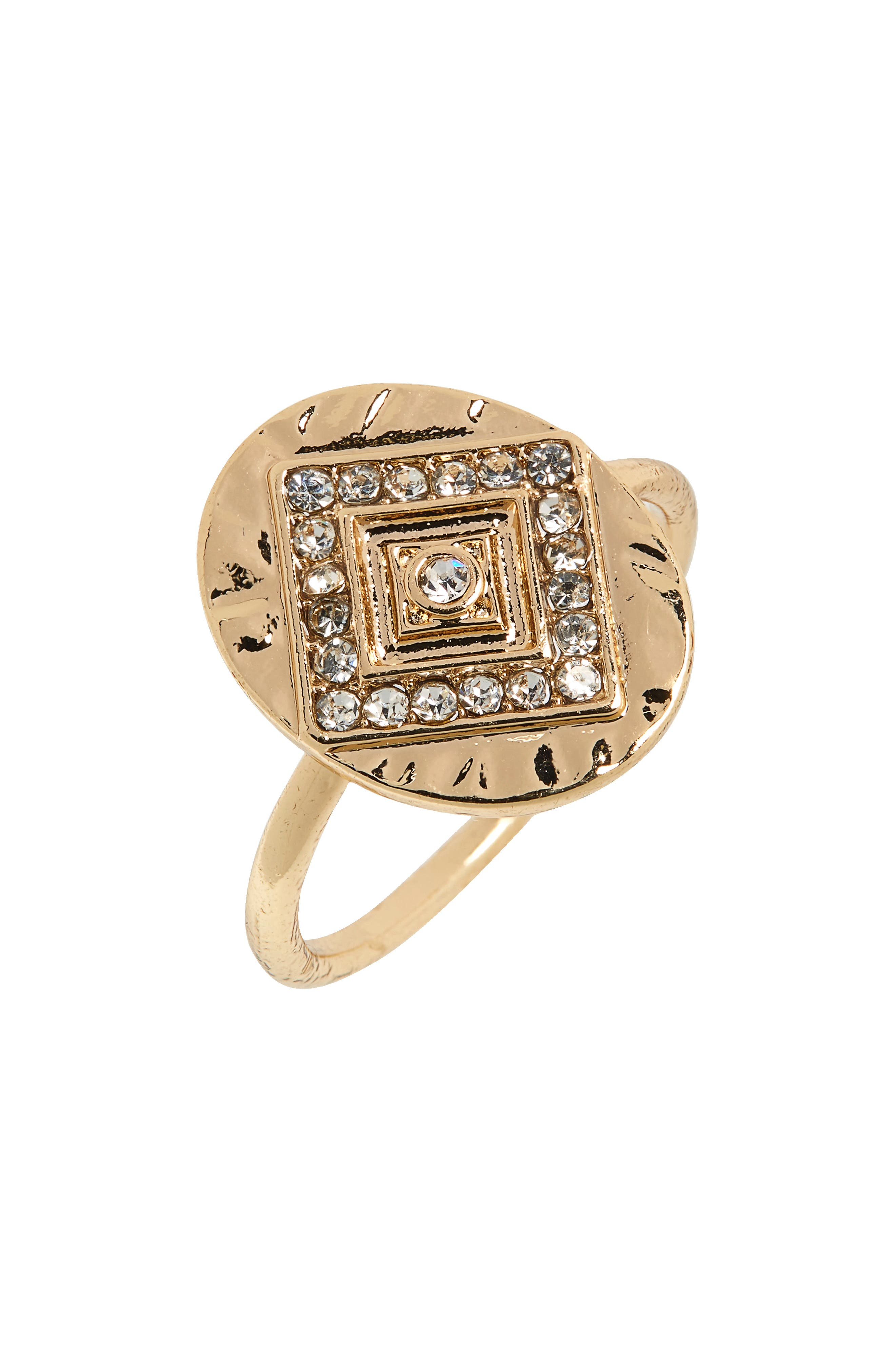 Main Image - Topshop Crystal Inset Statement Ring