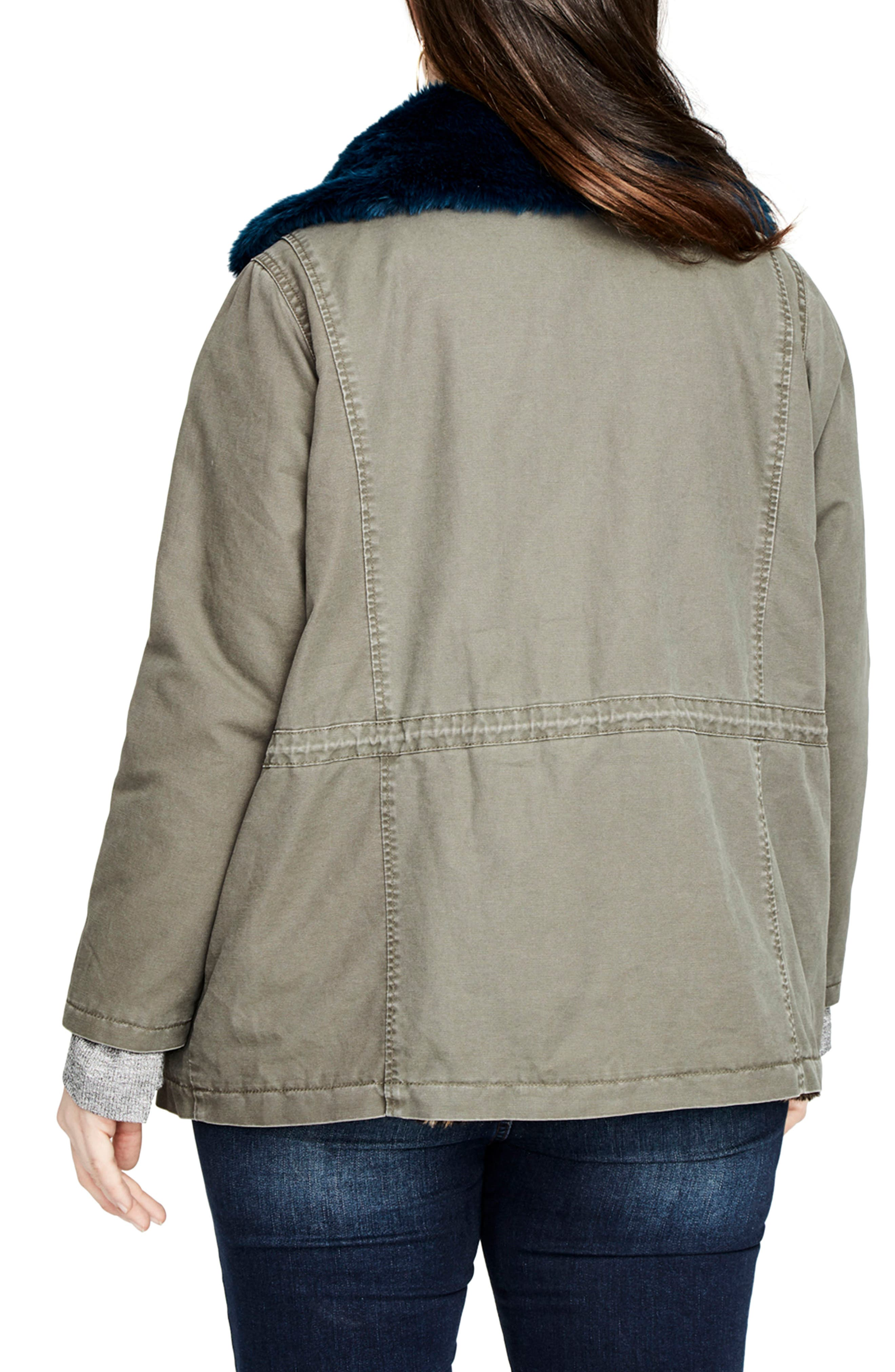 Alternate Image 2  - RACHEL Rachel Roy Faux Fur Trim Parka (Plus Size)