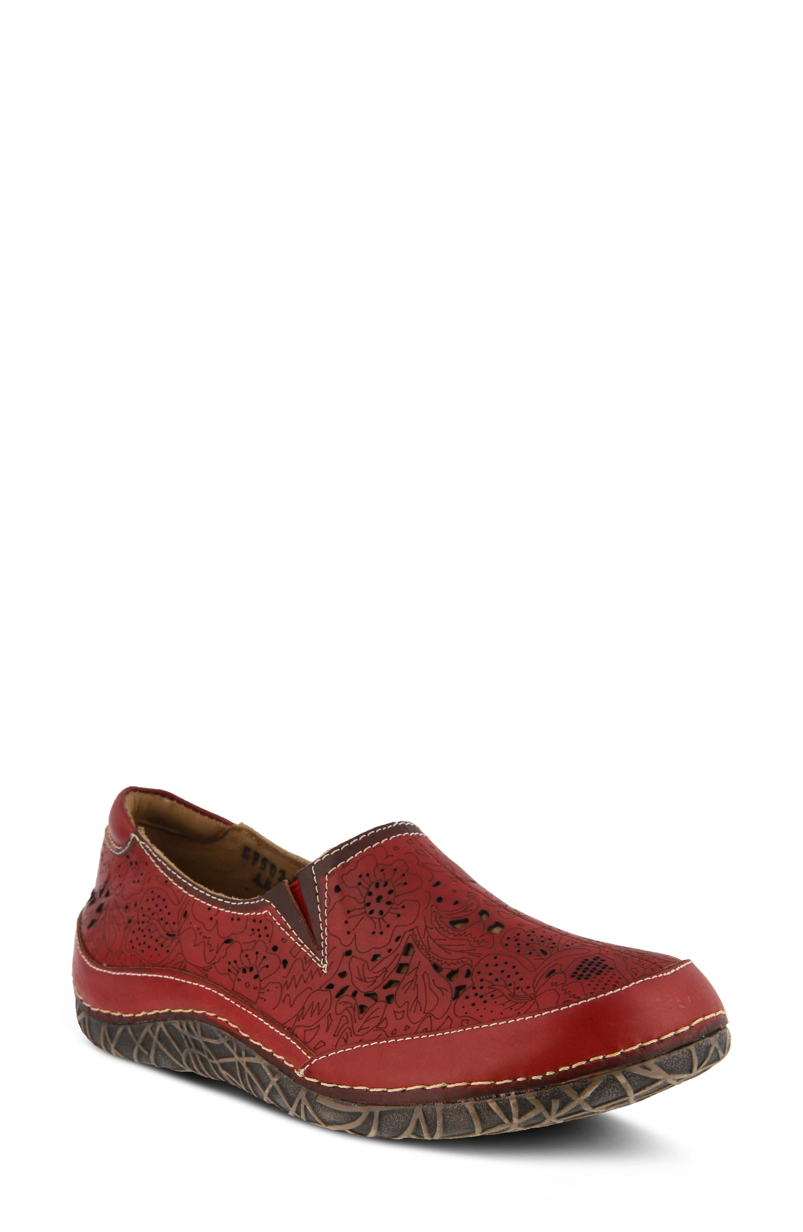 L'Artiste Libora Slip-On Flat,                             Main thumbnail 1, color,                             Red Leather