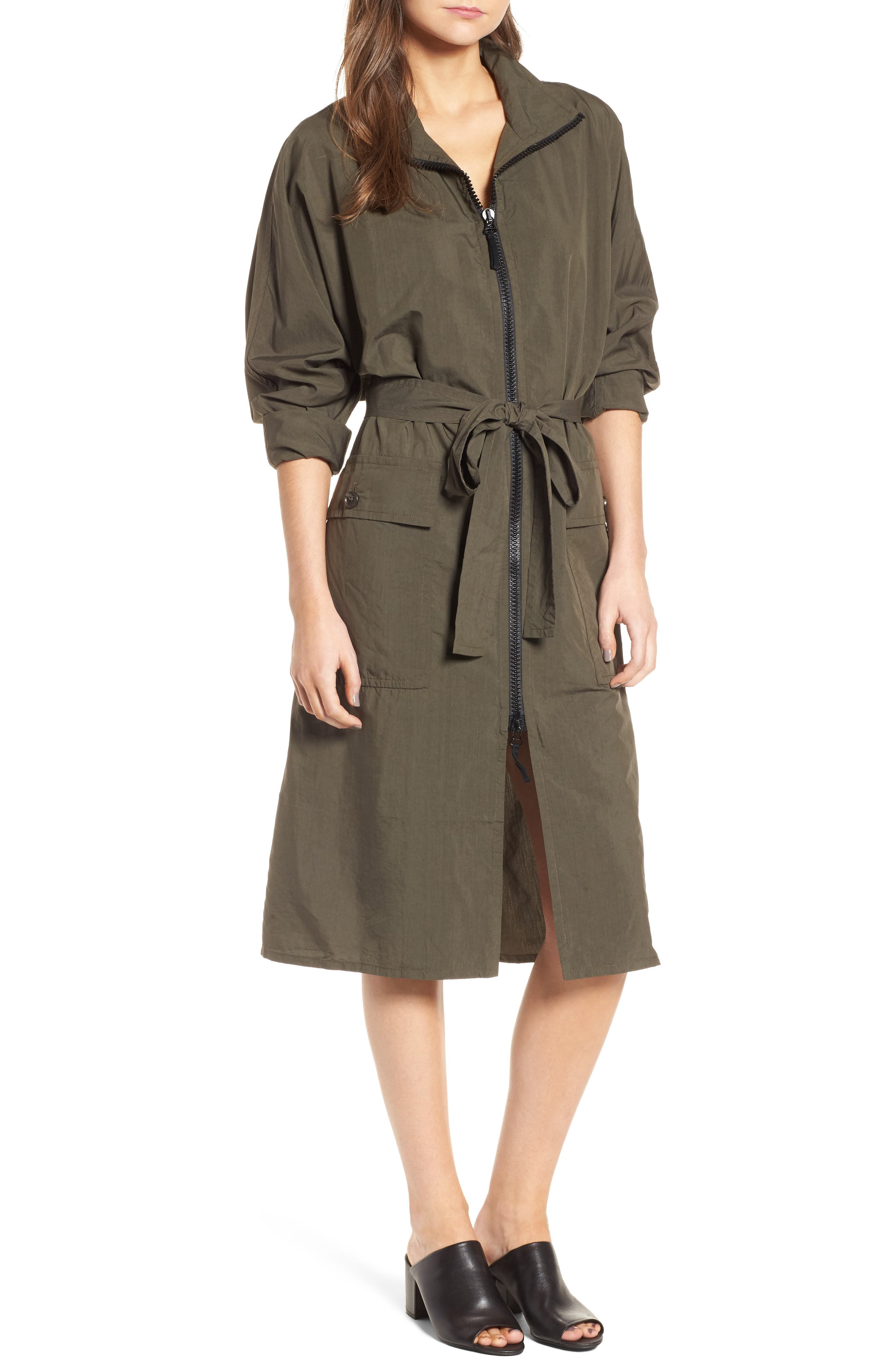 Zip Front Jacket Dress,                         Main,                         color, Army Green