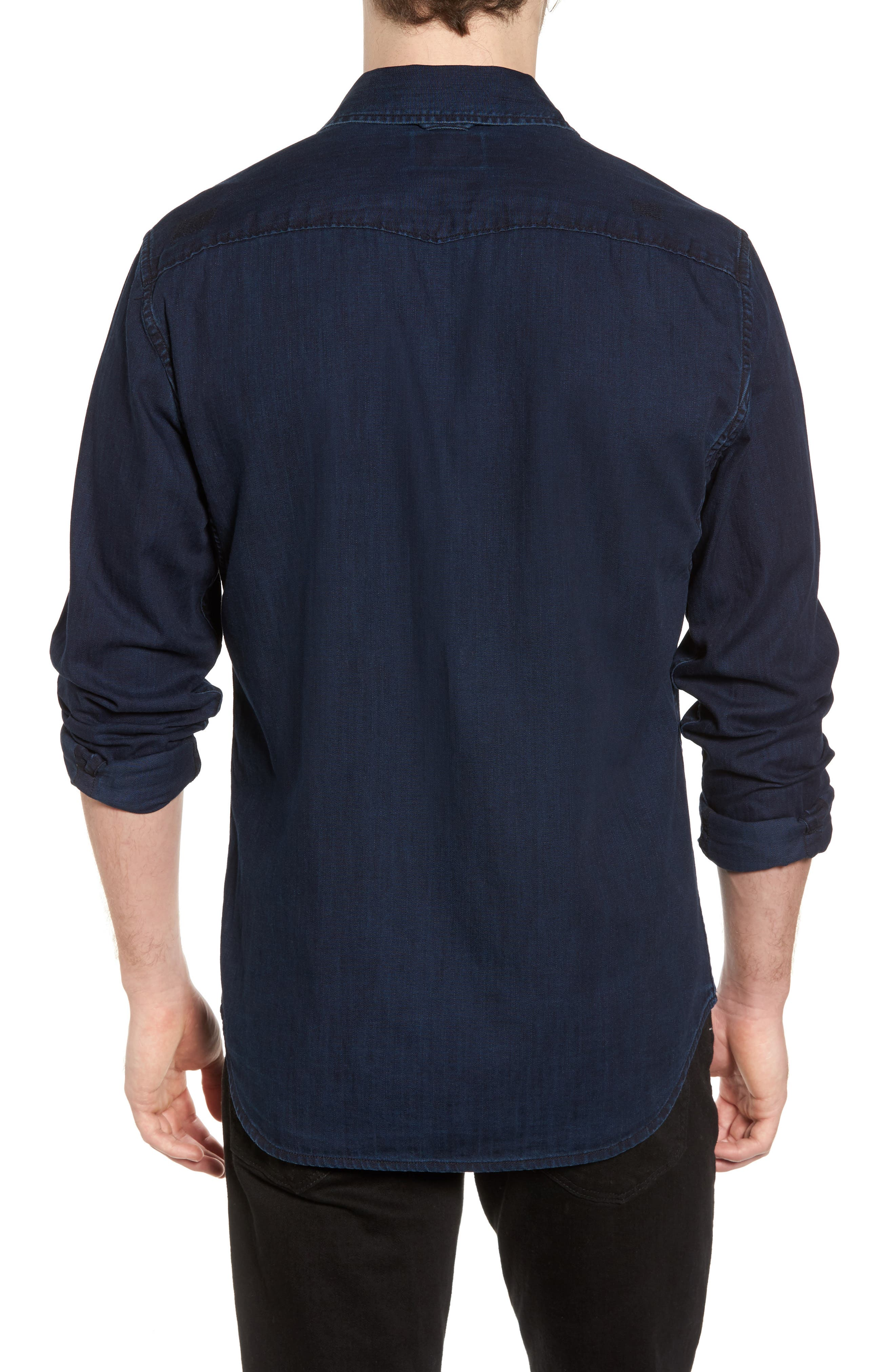 Pocketless Western Denim Shirt,                             Alternate thumbnail 2, color,                             Midnight