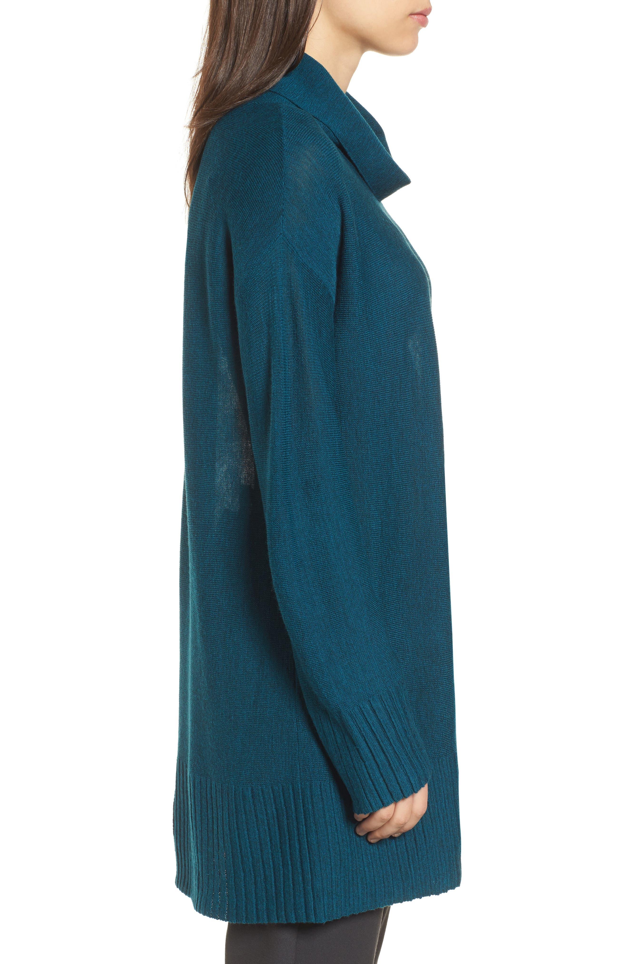 Merino Wool Tunic Sweater,                             Alternate thumbnail 3, color,                             Blue Spruce