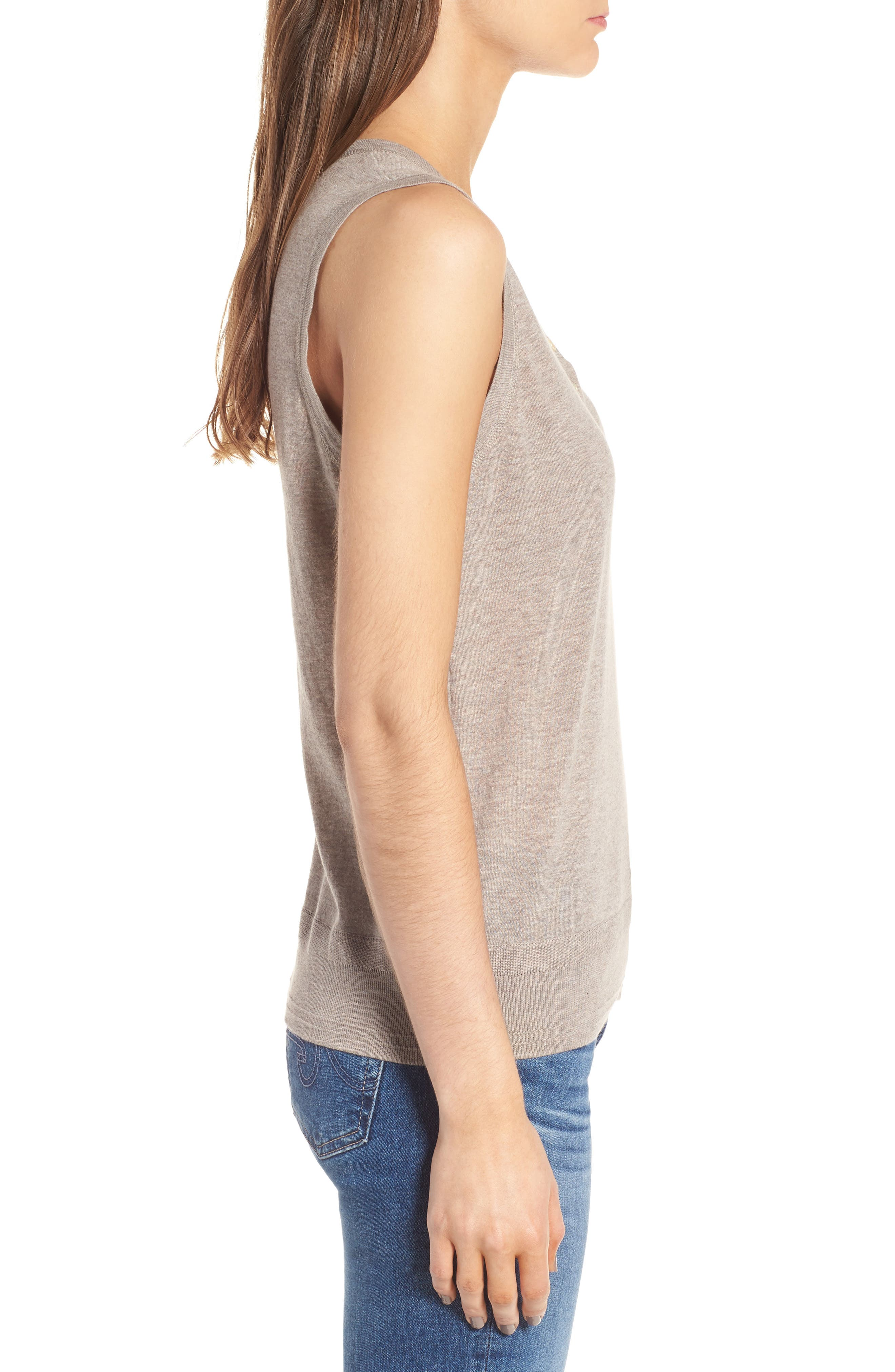 Henley Tank Sweater,                             Alternate thumbnail 3, color,                             Heather Taupe