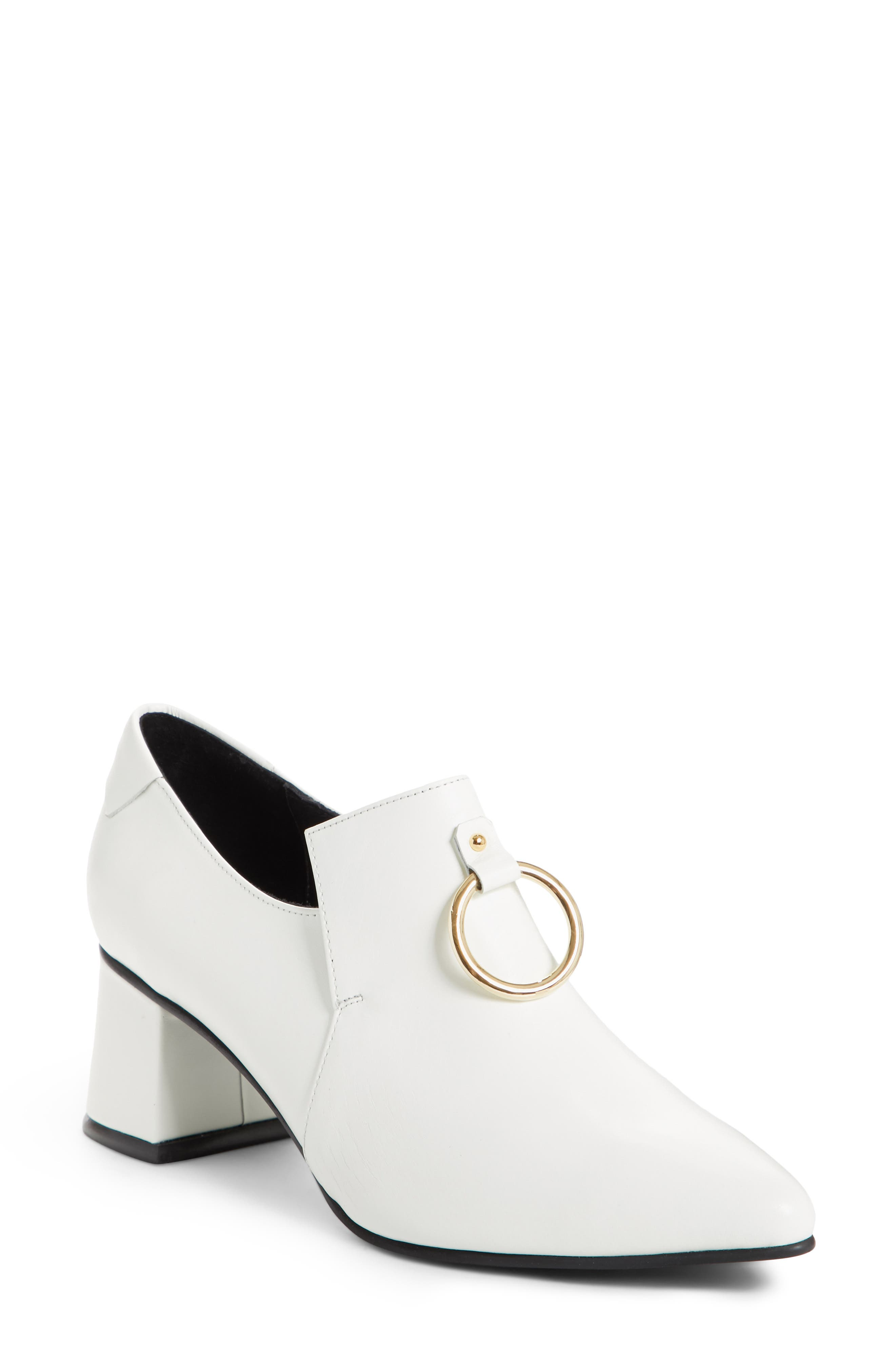 Ring Middle Loafer Pump,                         Main,                         color, White